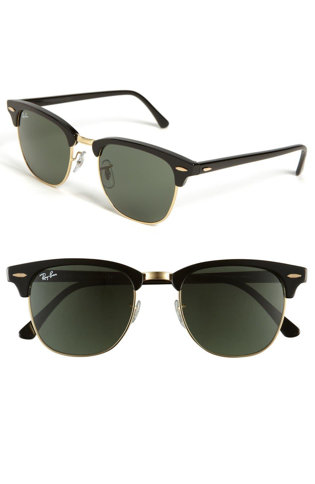 RAY-BAN, Classic Clubmaster 51mm Sunglasses, Main thumbnail 1, color, BLACK/ GREEN