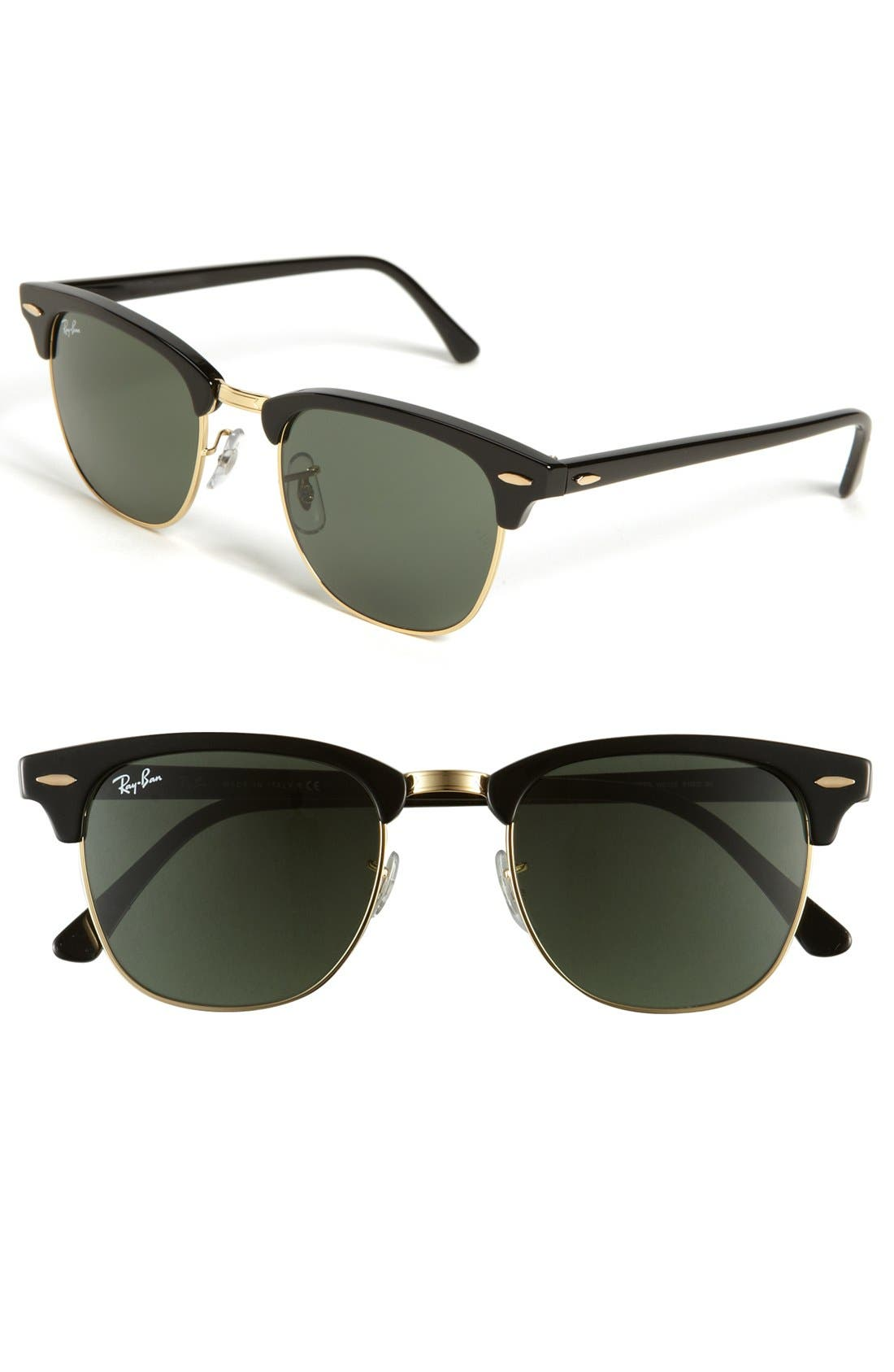 RAY-BAN Classic Clubmaster 51mm Sunglasses, Main, color, BLACK/ GREEN