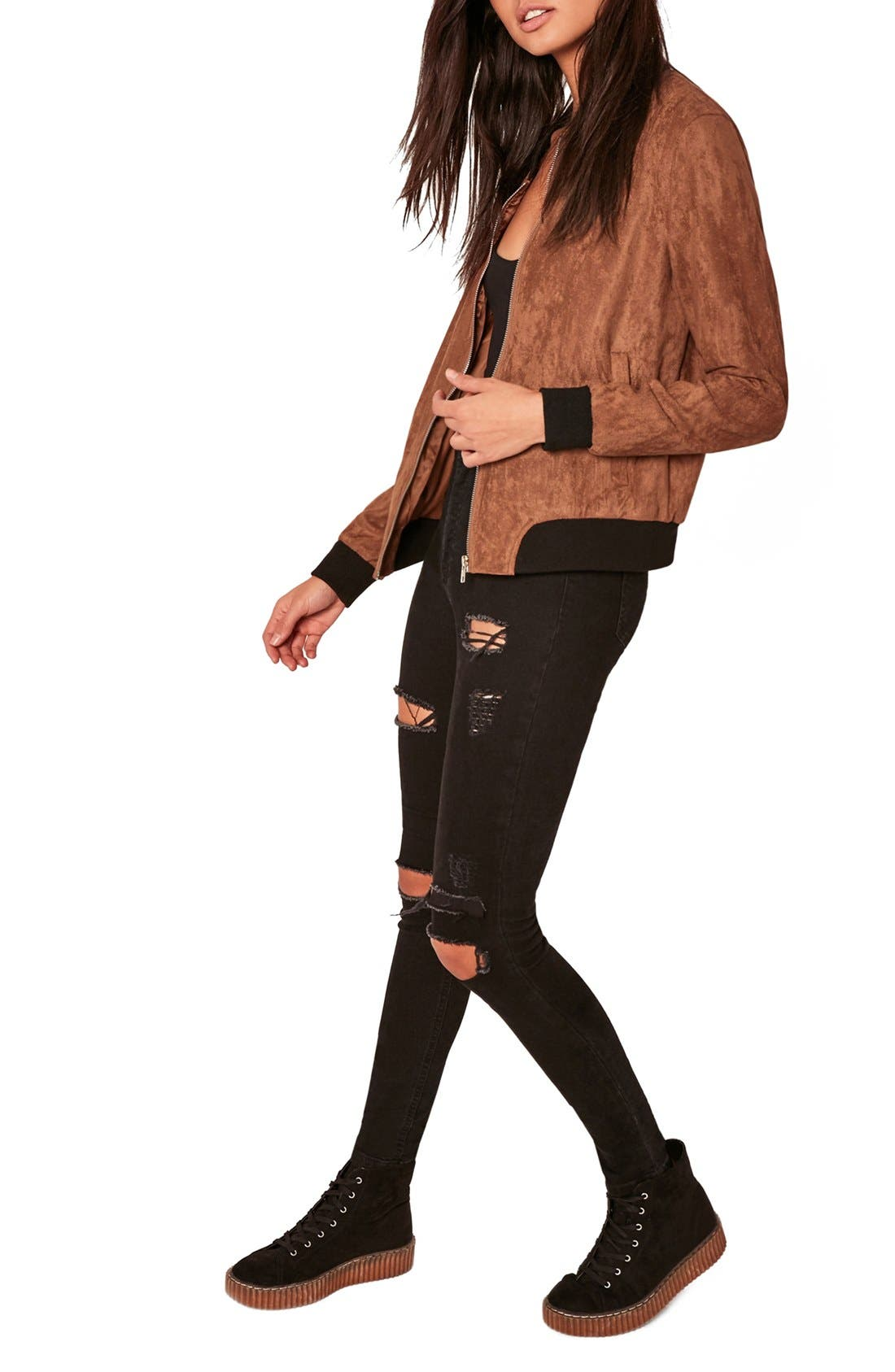 MISSGUIDED, Faux Suede Bomber Jacket, Alternate thumbnail 8, color, 808