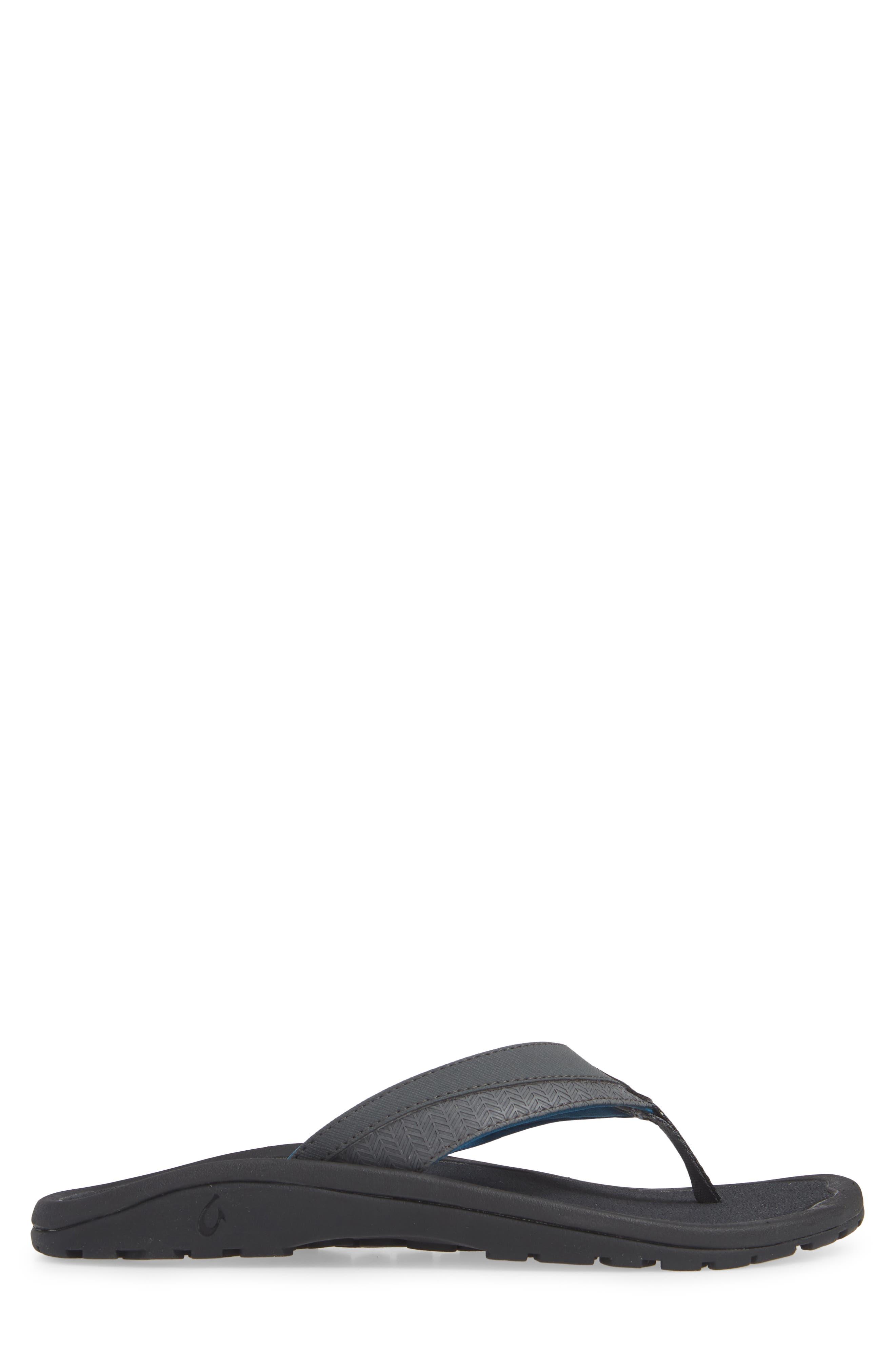OLUKAI, 'Ohana Koa' Flip Flop, Alternate thumbnail 3, color, DARK SHADOW