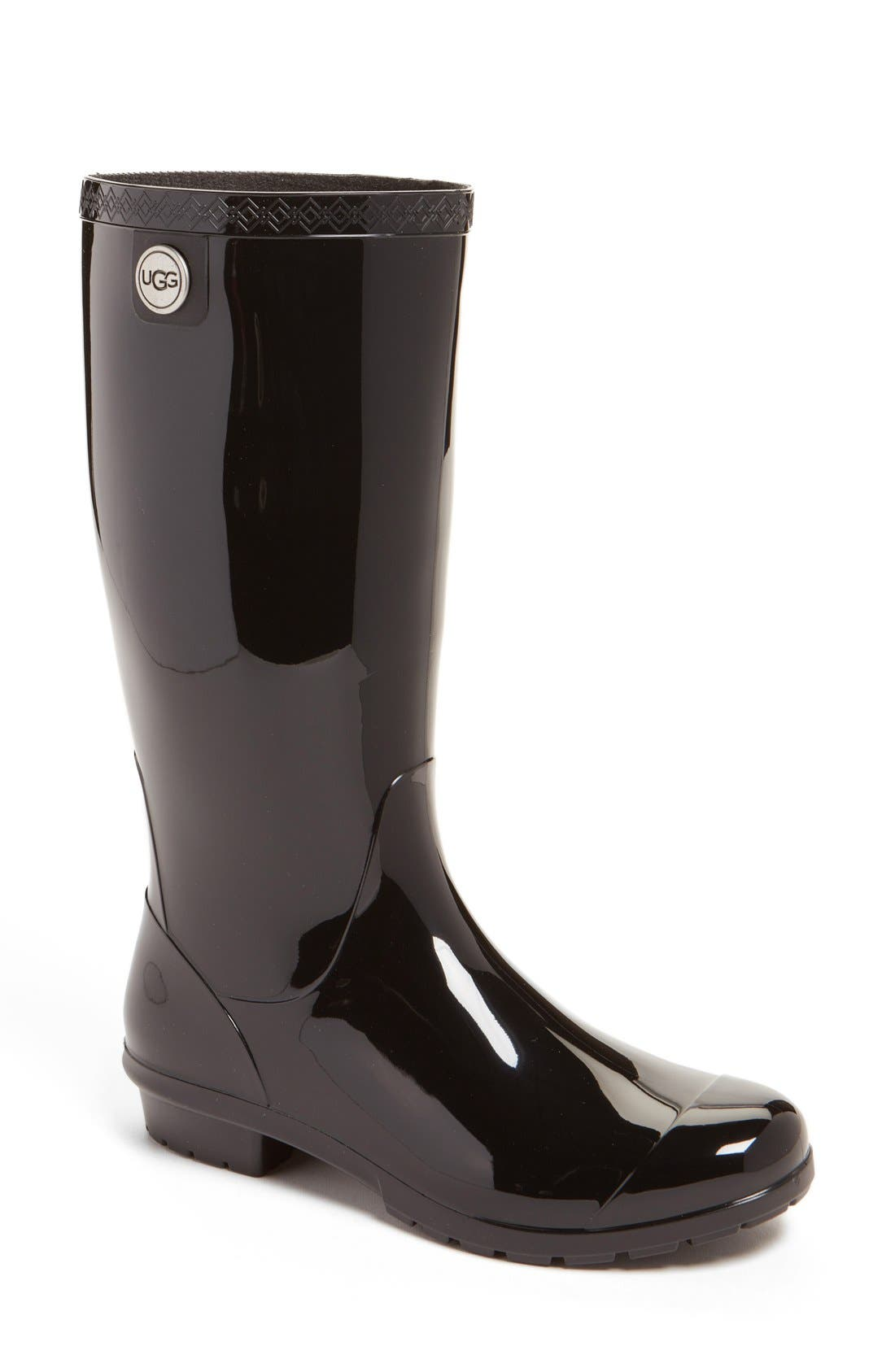 UGG<SUP>®</SUP>, Shaye Rain Boot, Main thumbnail 1, color, BLACK RUBBER