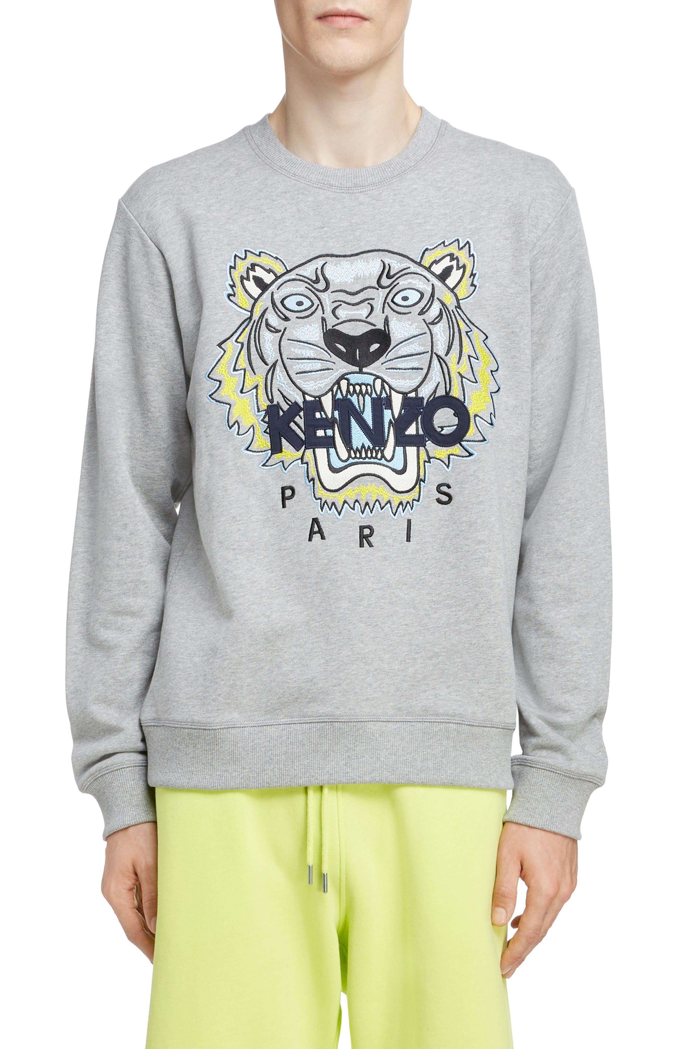 KENZO, Tiger Sweatshirt, Main thumbnail 1, color, PEARL GREY