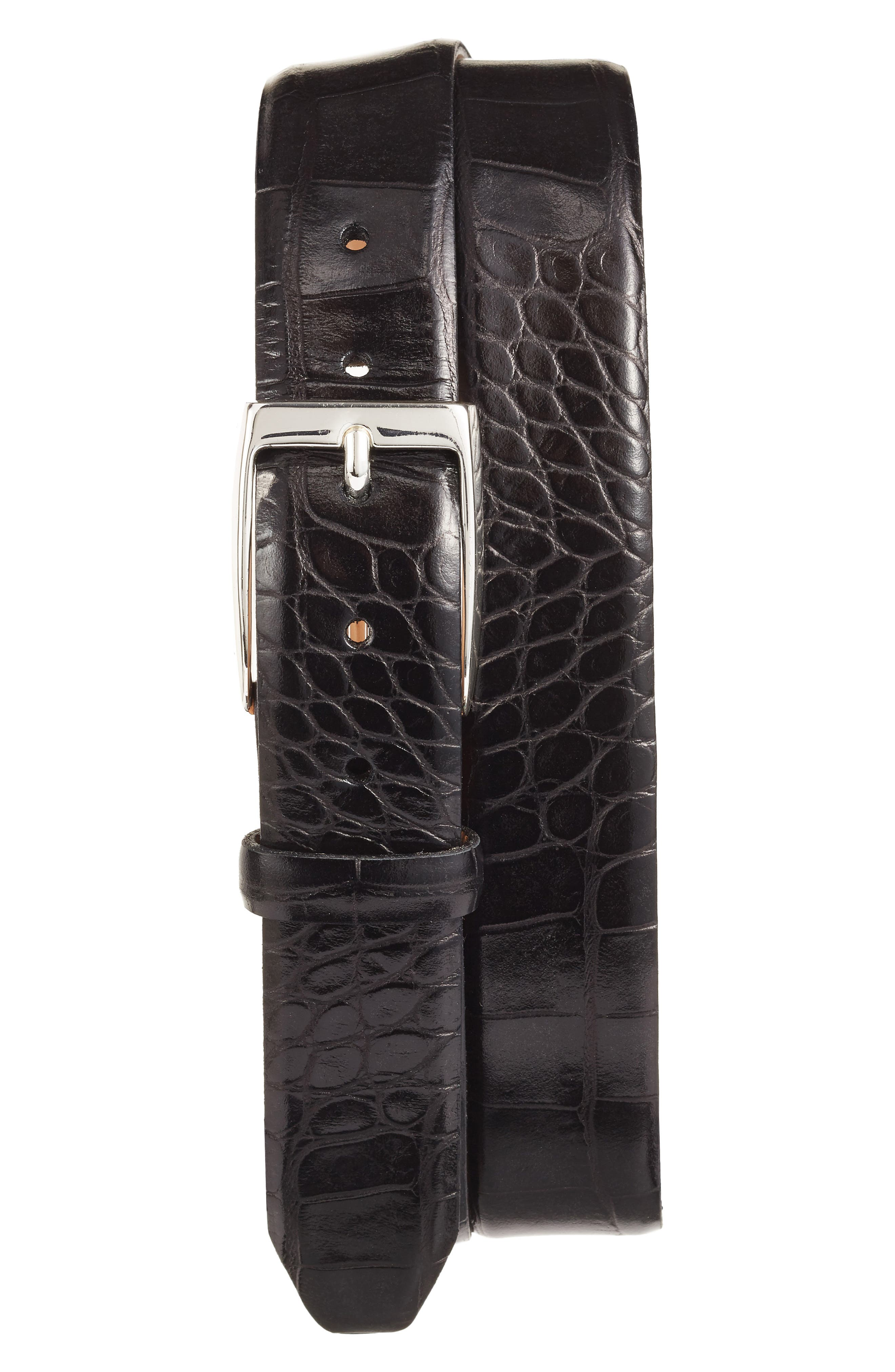 MARTIN DINGMAN Anthony Leather Belt, Main, color, 001
