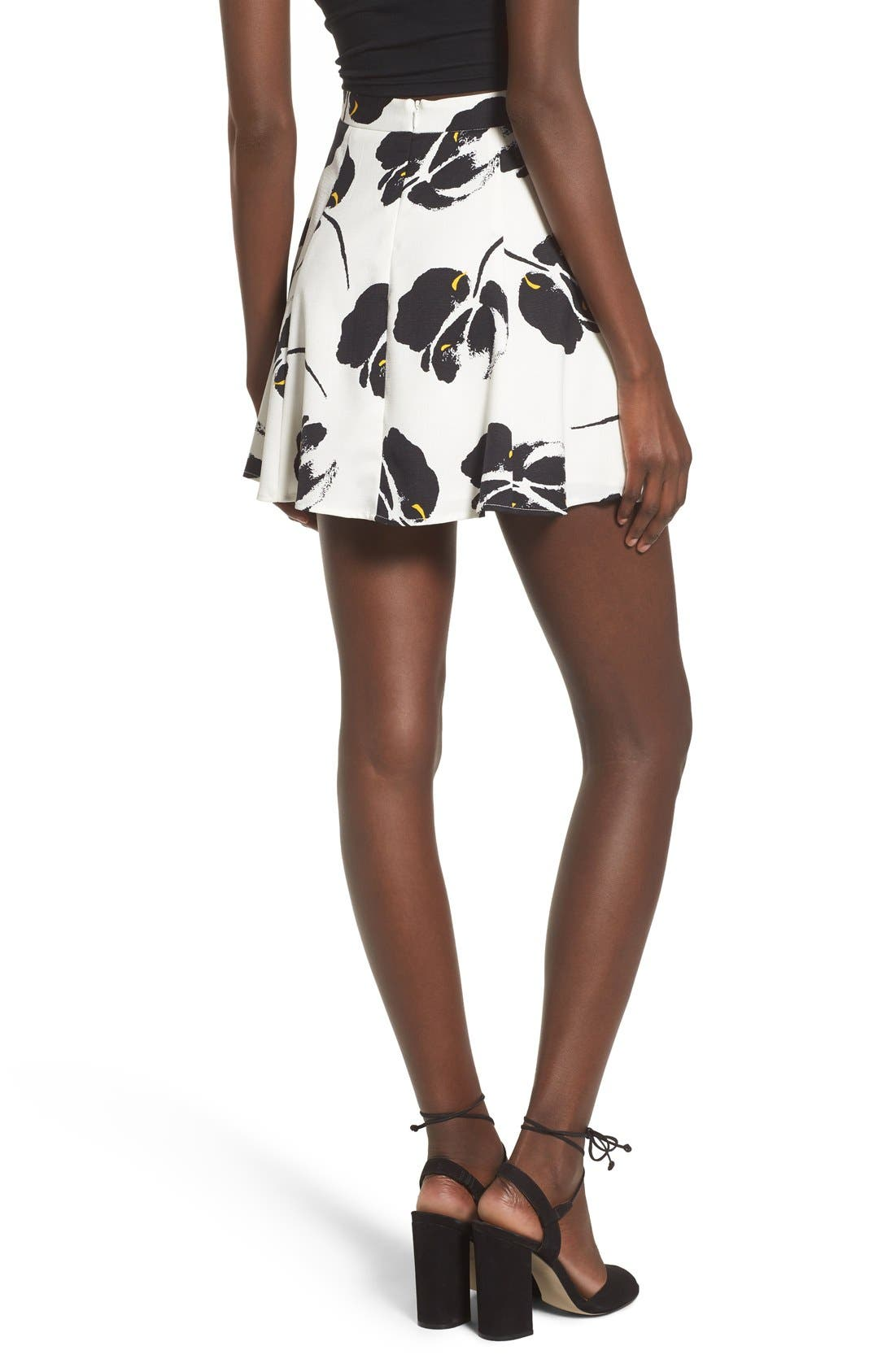 ---, Floral Print Miniskirt, Alternate thumbnail 3, color, 100
