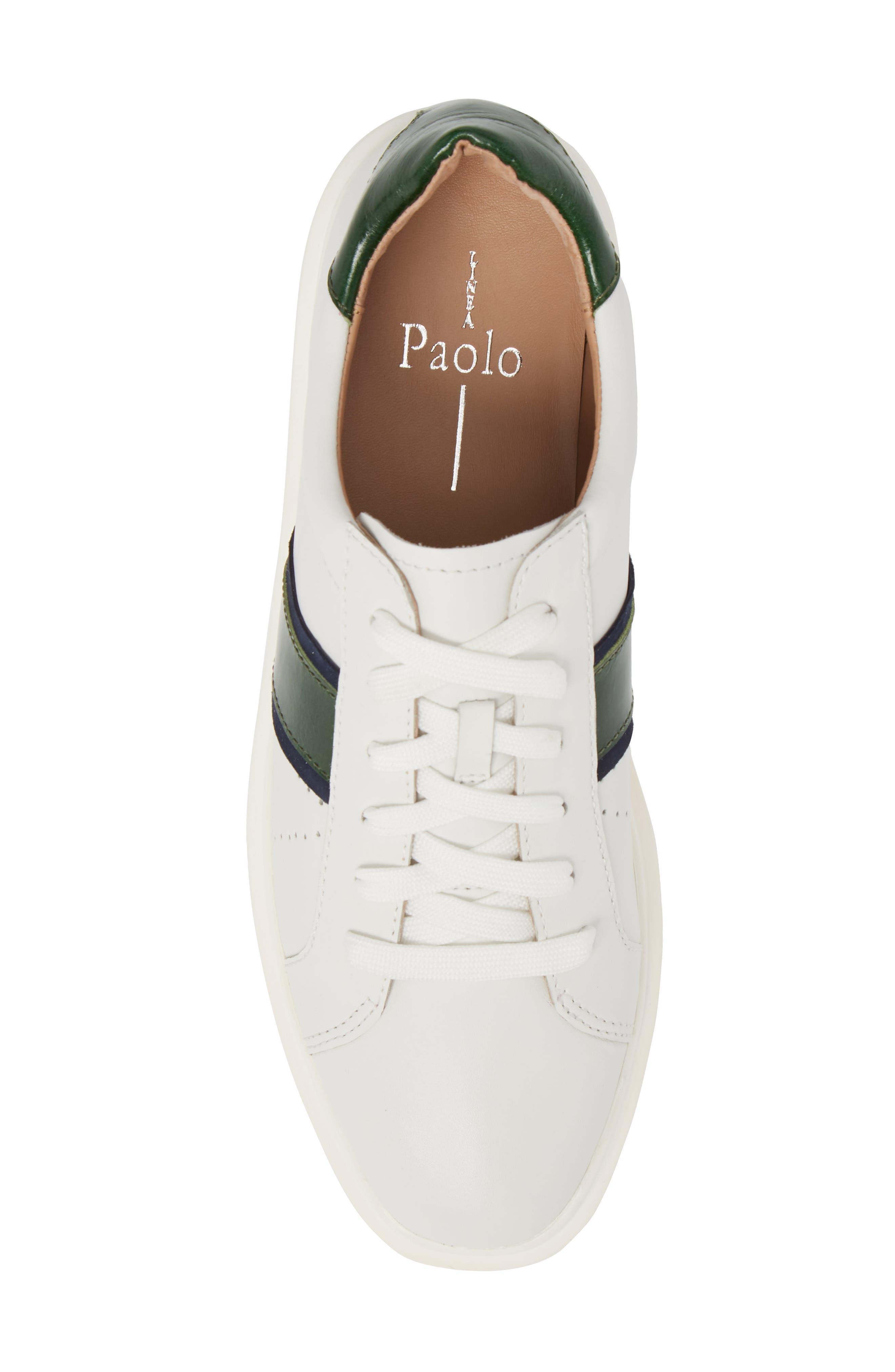 LINEA PAOLO, Knox Platform Sneaker, Alternate thumbnail 5, color, WHITE LEATHER