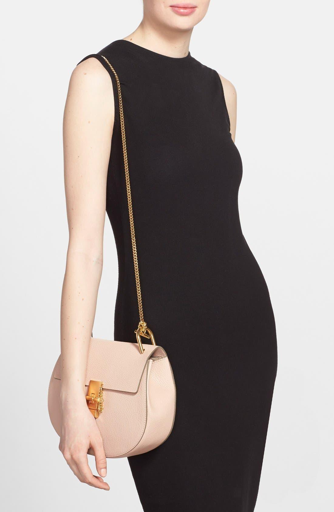 CHLOÉ, Drew Leather Shoulder Bag, Alternate thumbnail 3, color, 650