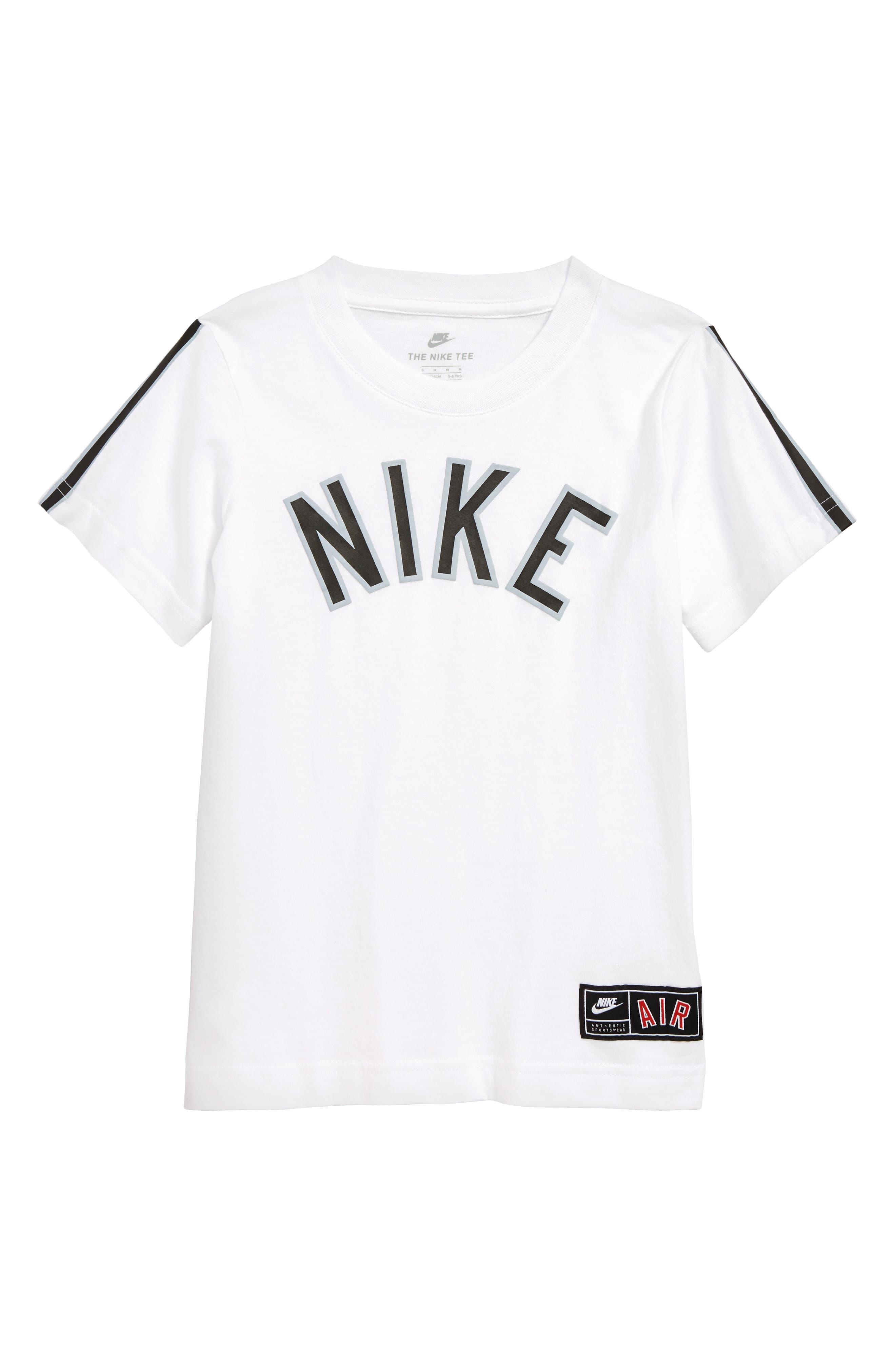 NIKE, Air Stripe T-Shirt, Main thumbnail 1, color, WHITE