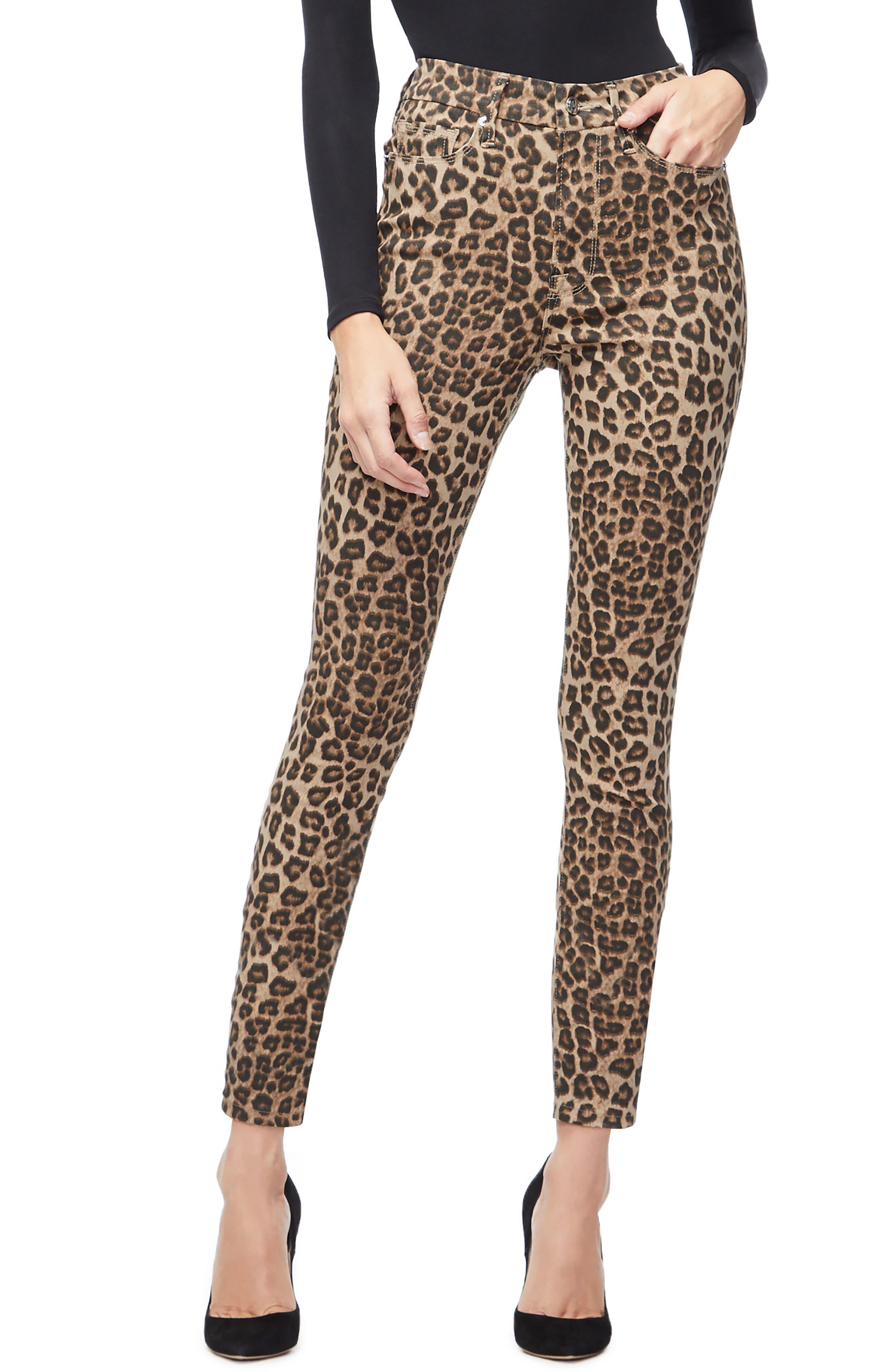 GOOD AMERICAN Good Waist Ankle Skinny Jeans, Main, color, CHEETAH001
