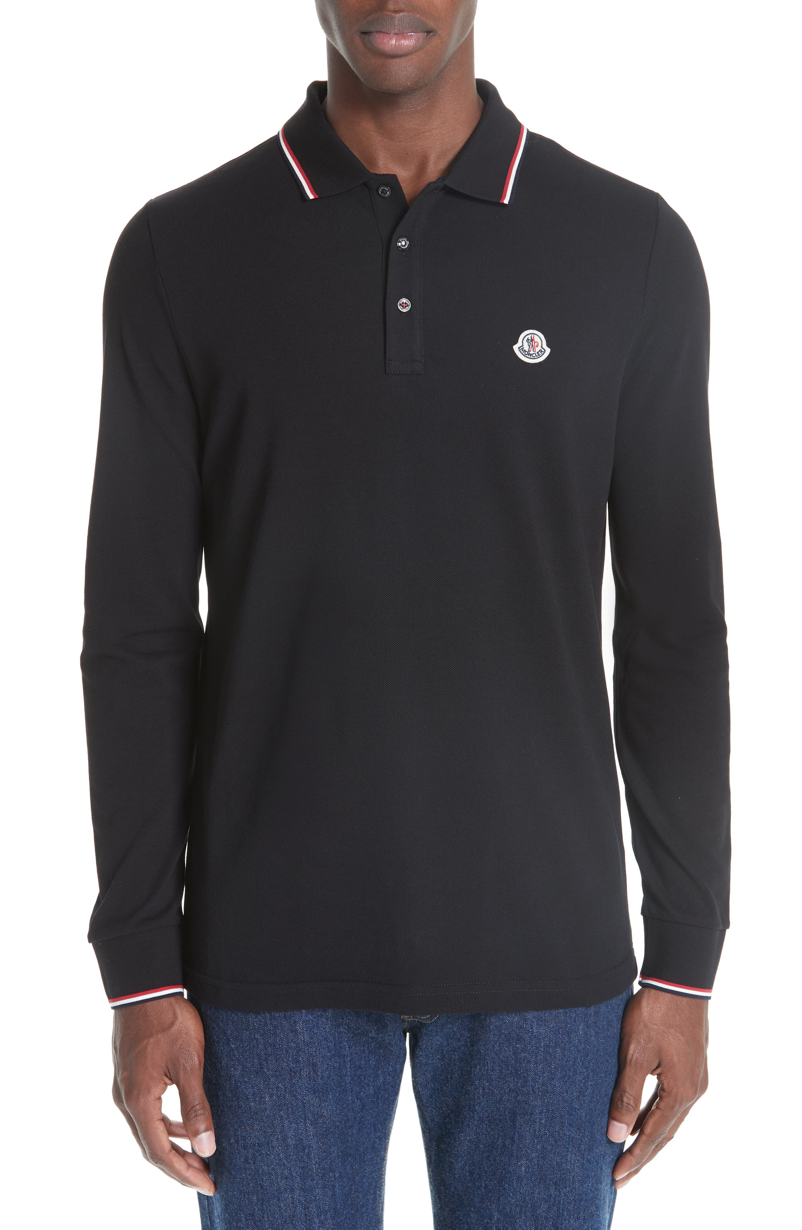 MONCLER, Maglia Long Sleeve Piqué Polo, Main thumbnail 1, color, BLACK