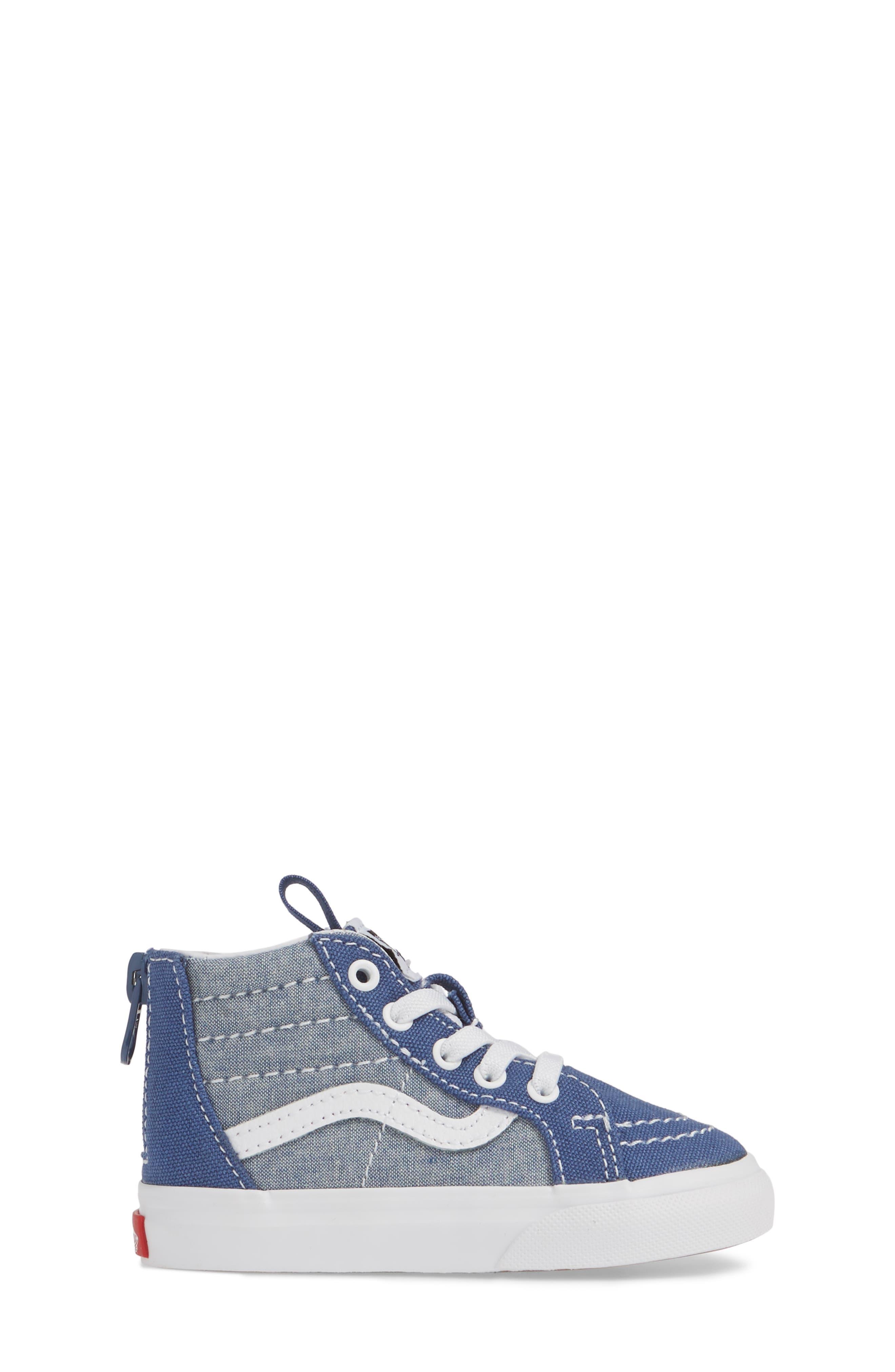 VANS, 'Sk8-Hi' Sneaker, Alternate thumbnail 3, color, CHAMBRAY CANVAS NAVY/ WHITE