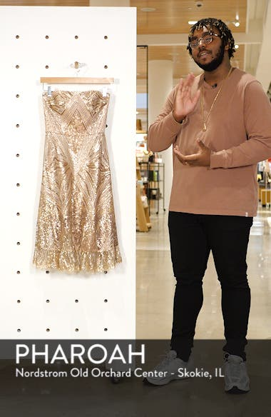 Sarah Sequin Strapless Fit & Flare Dress, sales video thumbnail