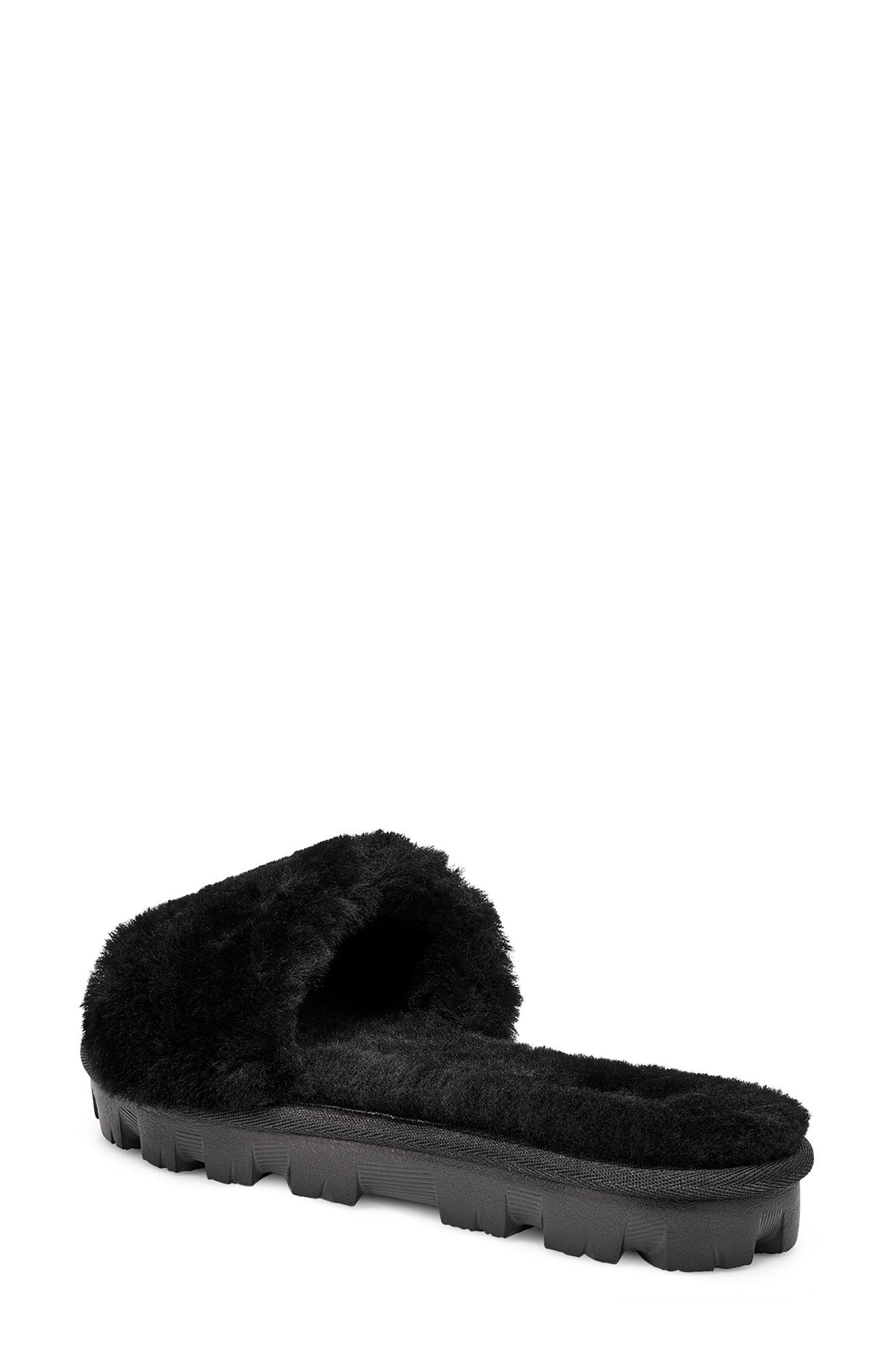 UGG<SUP>®</SUP>, Cozette Genuine Shearling Slipper, Alternate thumbnail 2, color, BLACK