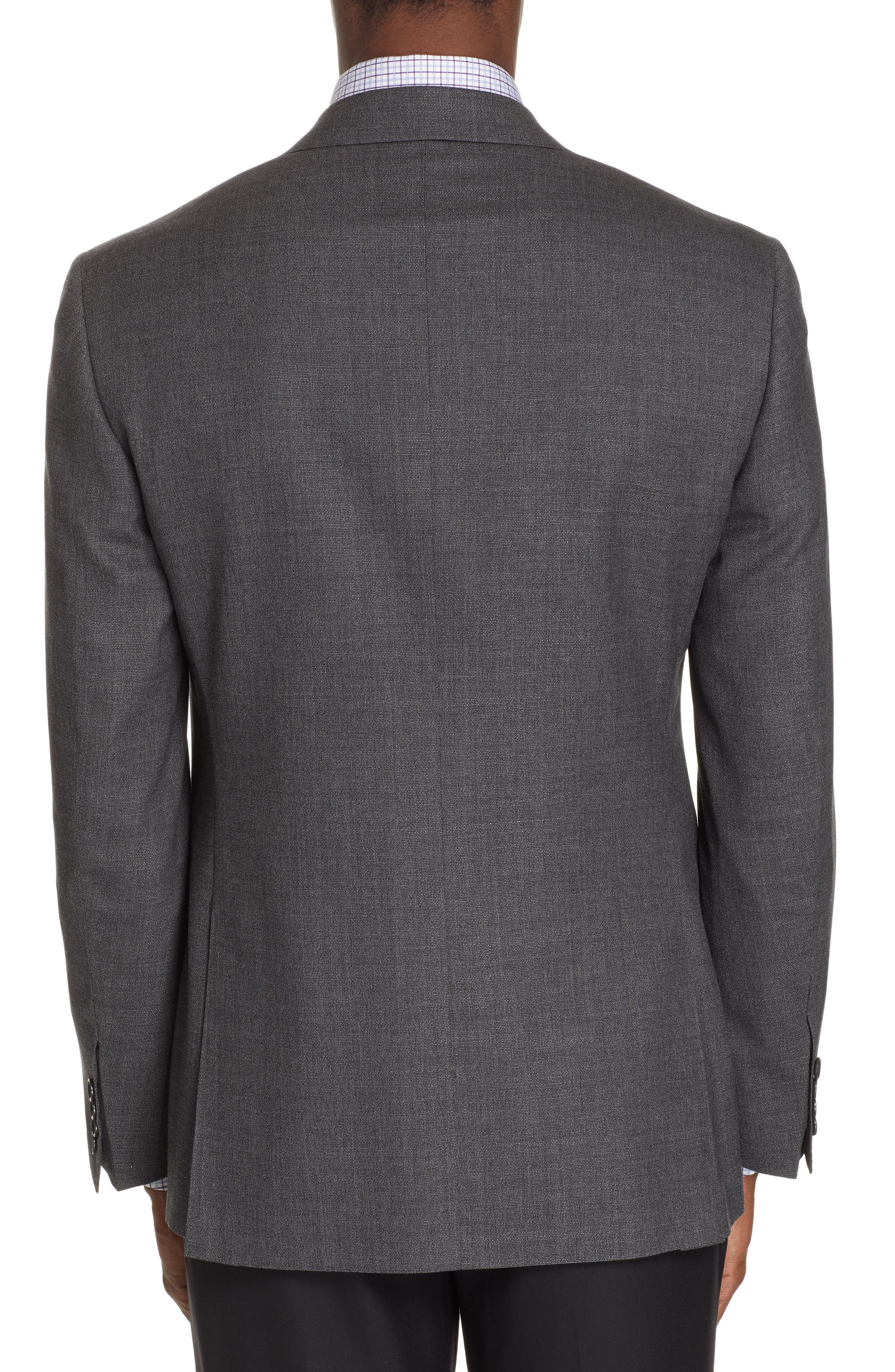 CANALI, Sienna Classic Fit Solid Wool Sport Coat, Alternate thumbnail 2, color, CHARCOAL