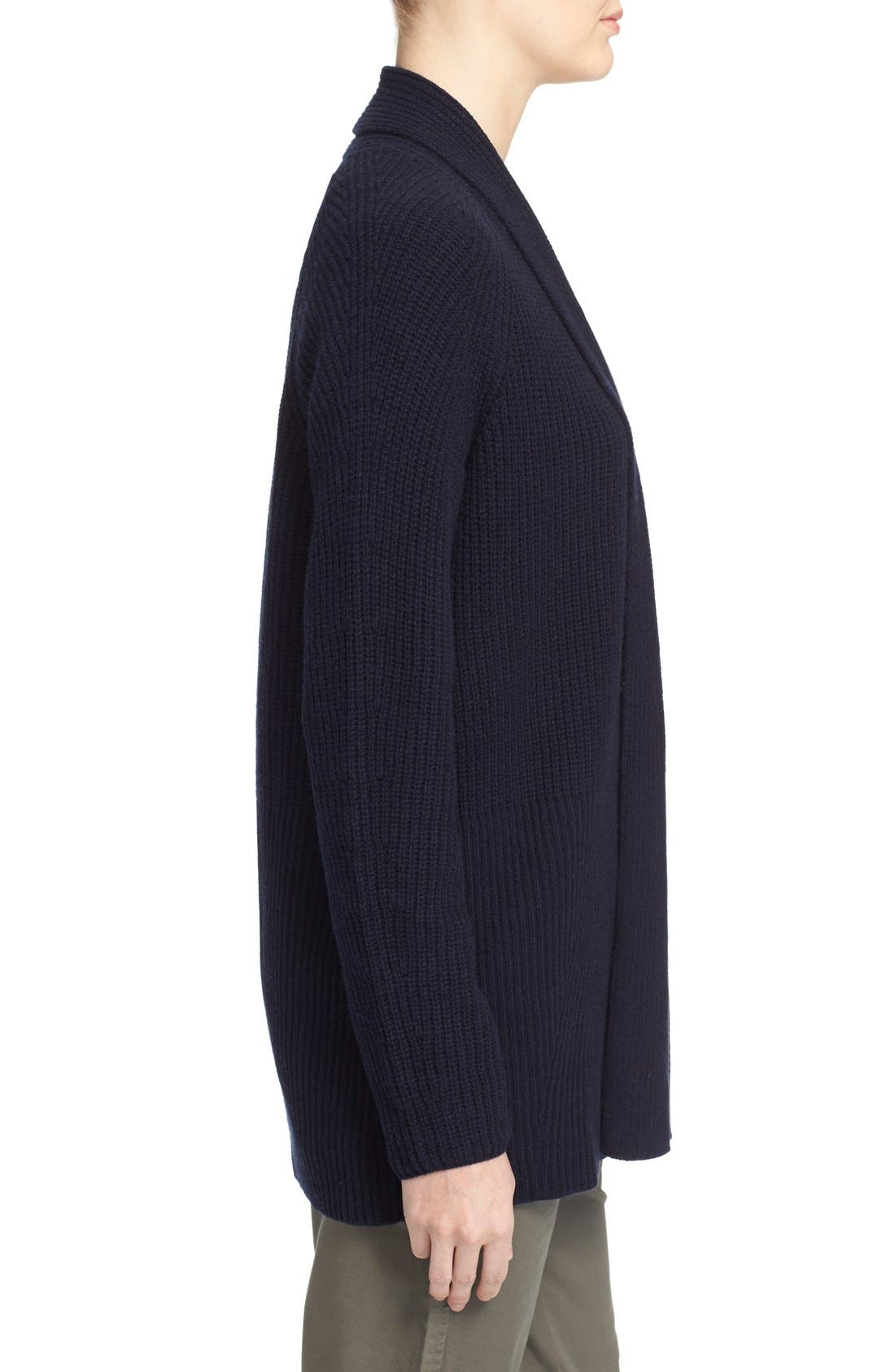VINCE, Directional Rib Wool & Cashmere Cardigan, Alternate thumbnail 5, color, 403