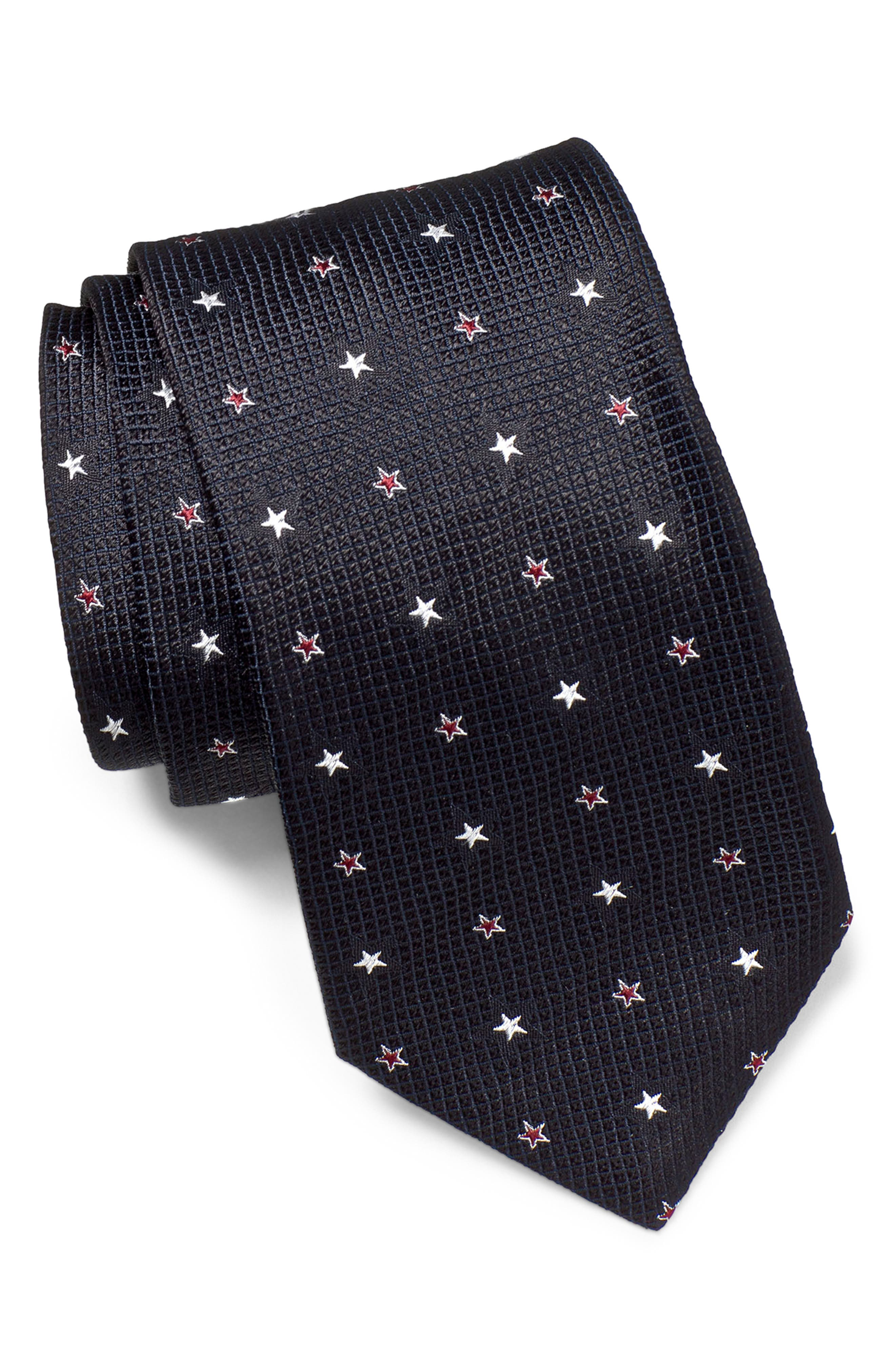 JOHN VARVATOS STAR USA Medallion Silk Tie, Main, color, BLACK