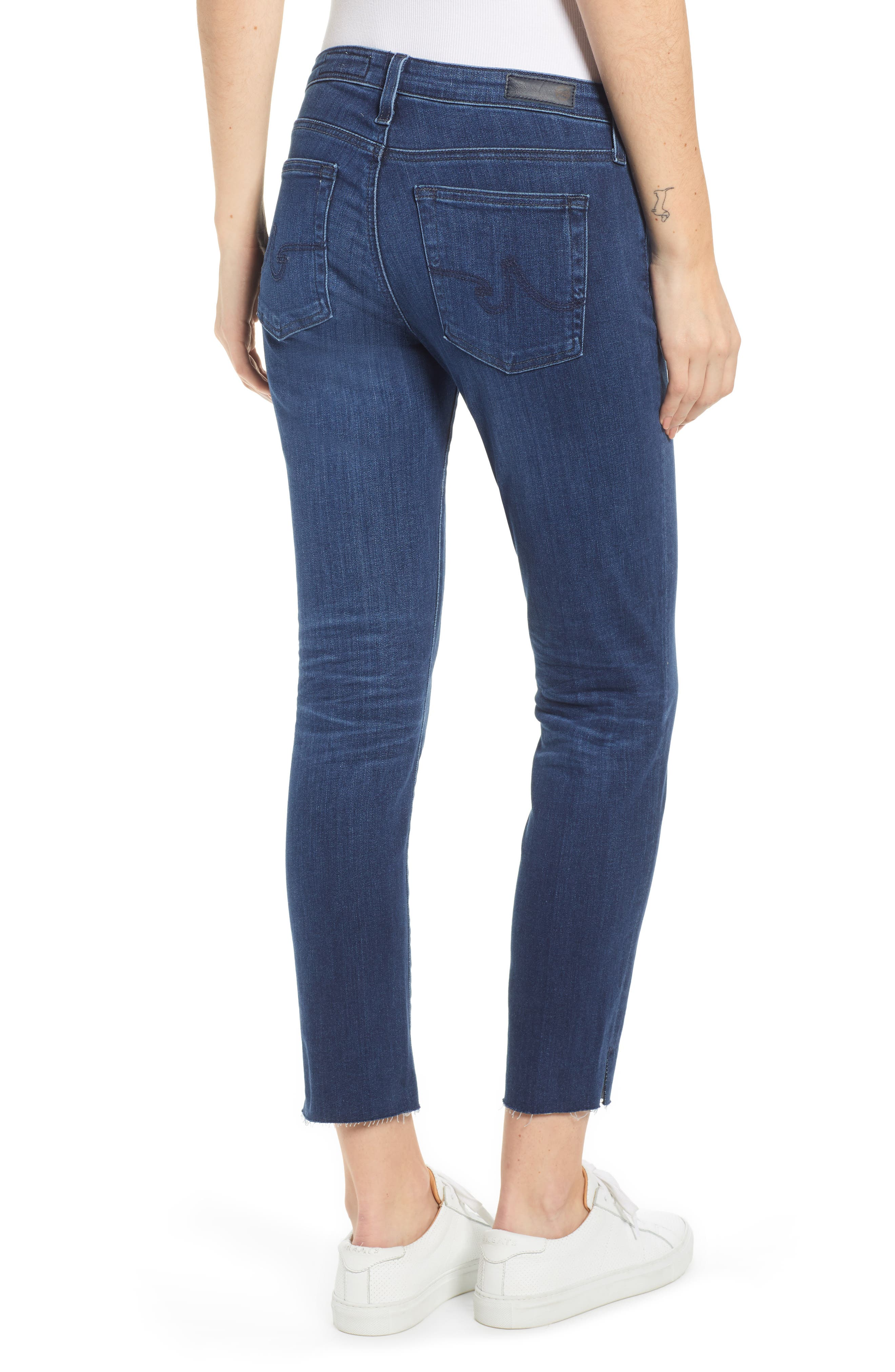 AG, The Prima Raw Hem Crop Jeans, Alternate thumbnail 2, color, 05Y BLUE ESSENCE