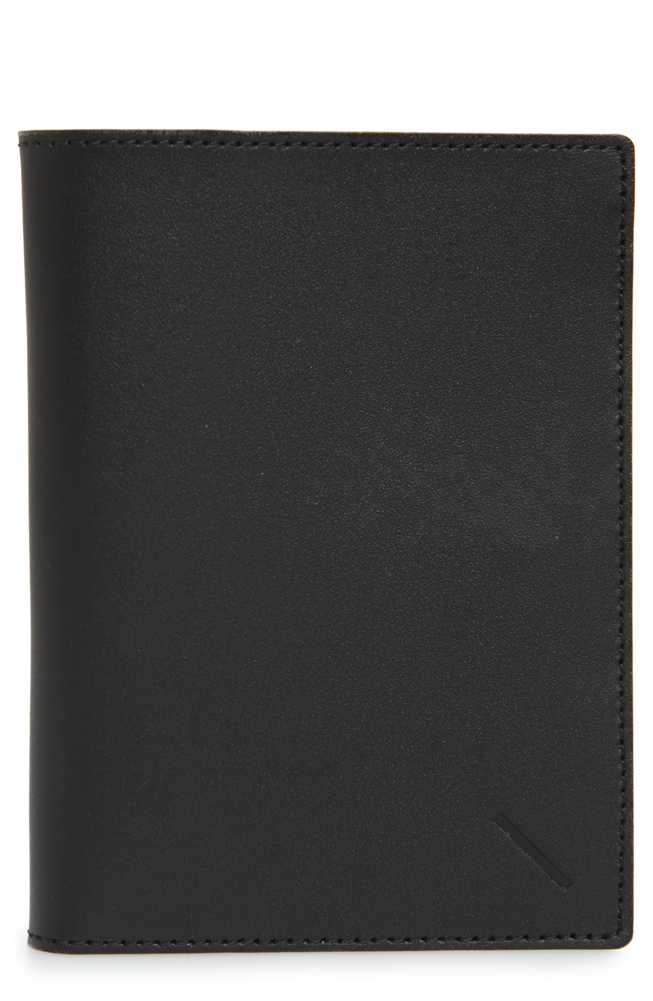 SATURDAYS NYC Leather Passport Wallet, Main, color, BLACK