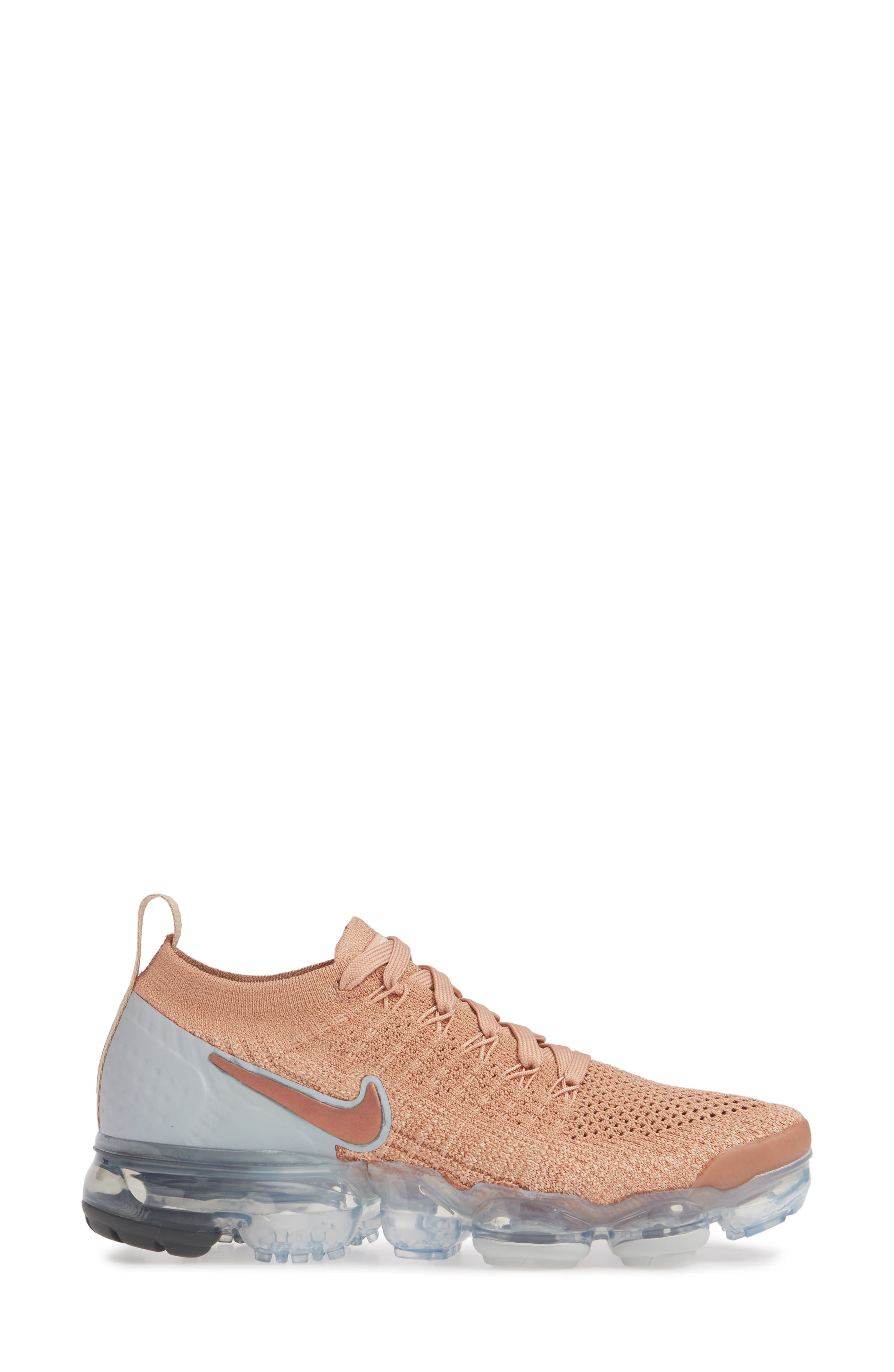 NIKE, Air VaporMax Flyknit 2 Running Shoe, Alternate thumbnail 3, color, ROSE GOLD/ BIO BEIGE