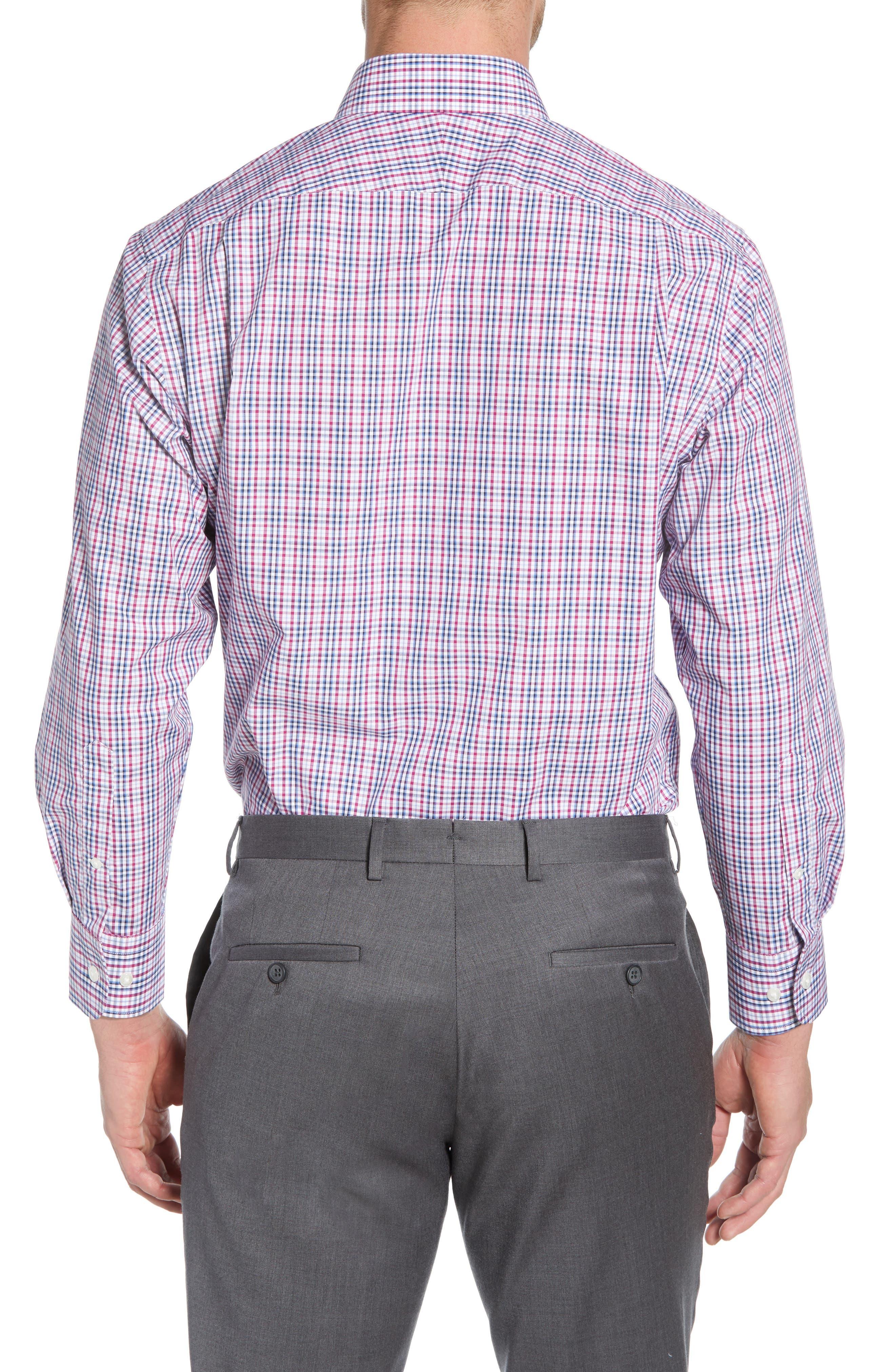 NORDSTROM MEN'S SHOP, Traditional Fit Non-Iron Plaid Dress Shirt, Alternate thumbnail 3, color, PURPLE BOYSEN