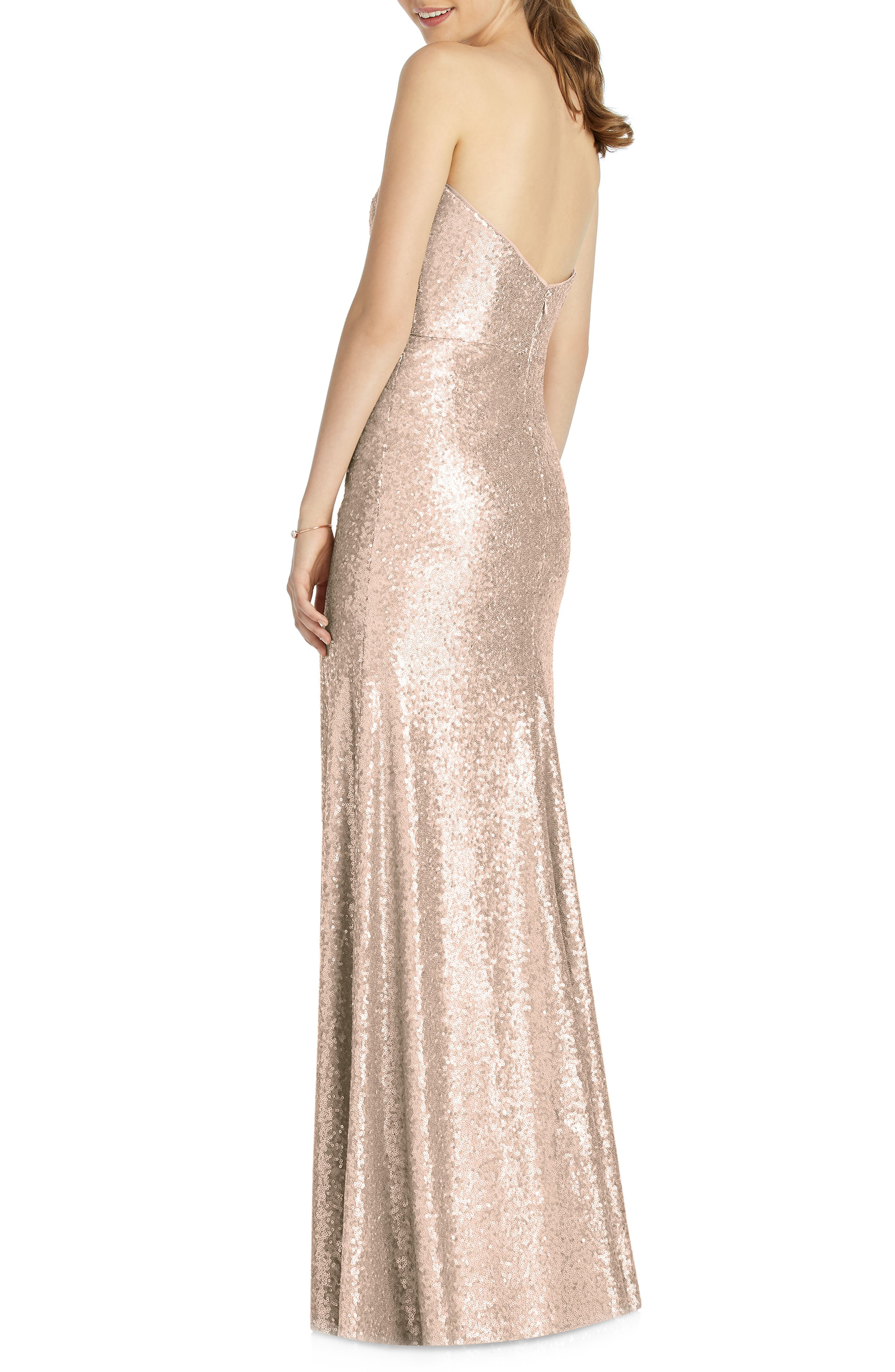 DESSY COLLECTION, Elle Strapless Sequin Trumpet Gown, Alternate thumbnail 2, color, ROSE GOLD