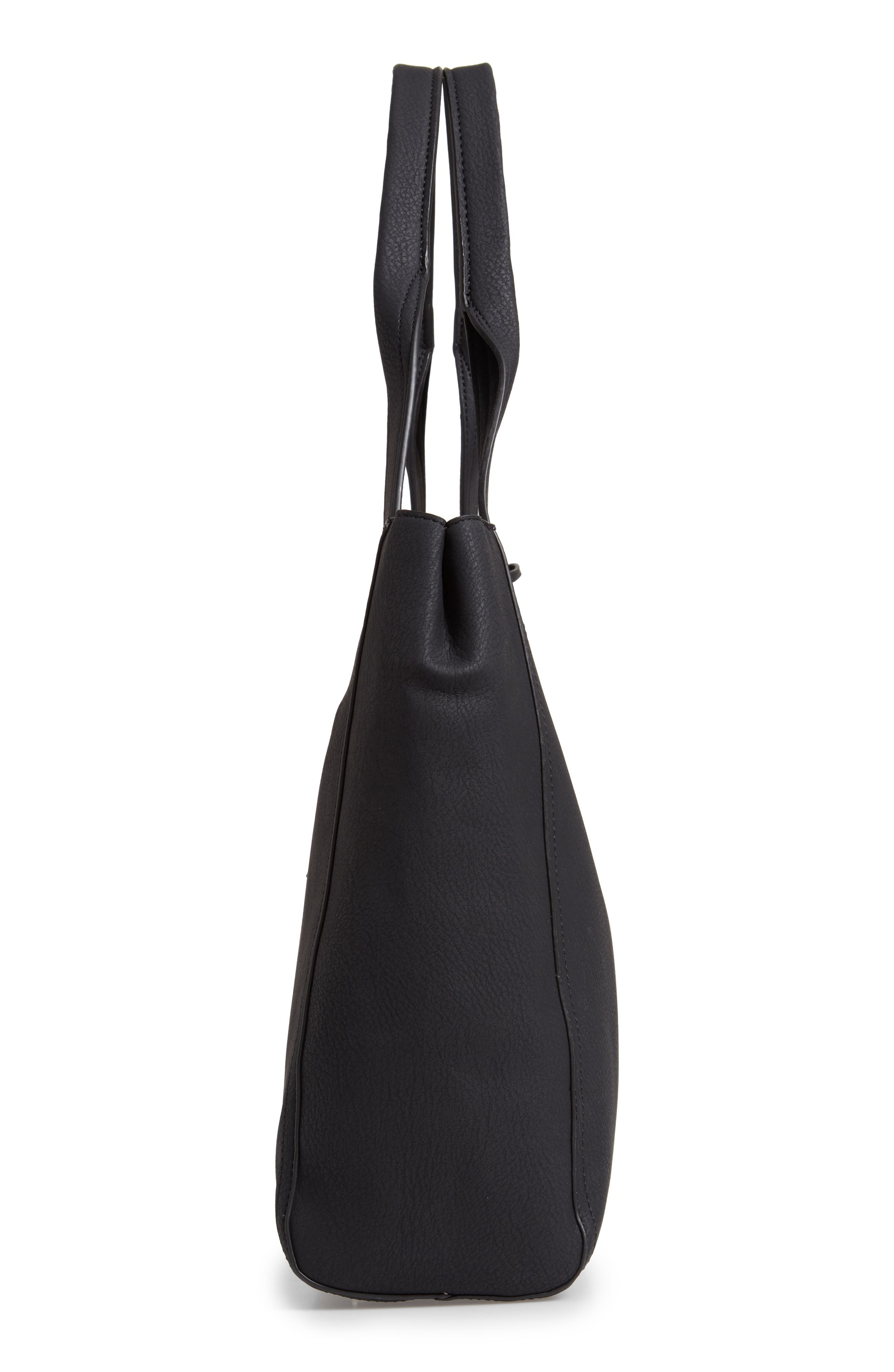 SOLE SOCIETY, Valah Faux Leather Tote, Alternate thumbnail 6, color, BLACK