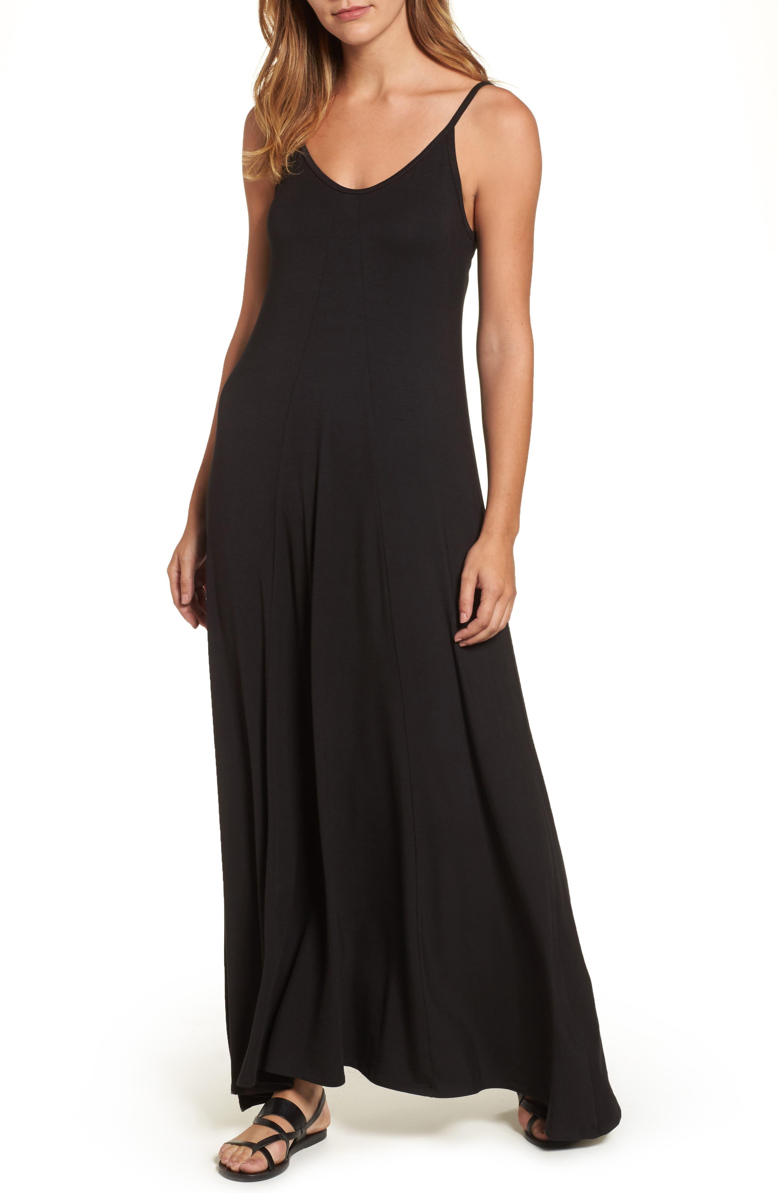 LOVEAPPELLA Knit Maxi Dress, Main, color, BLACK