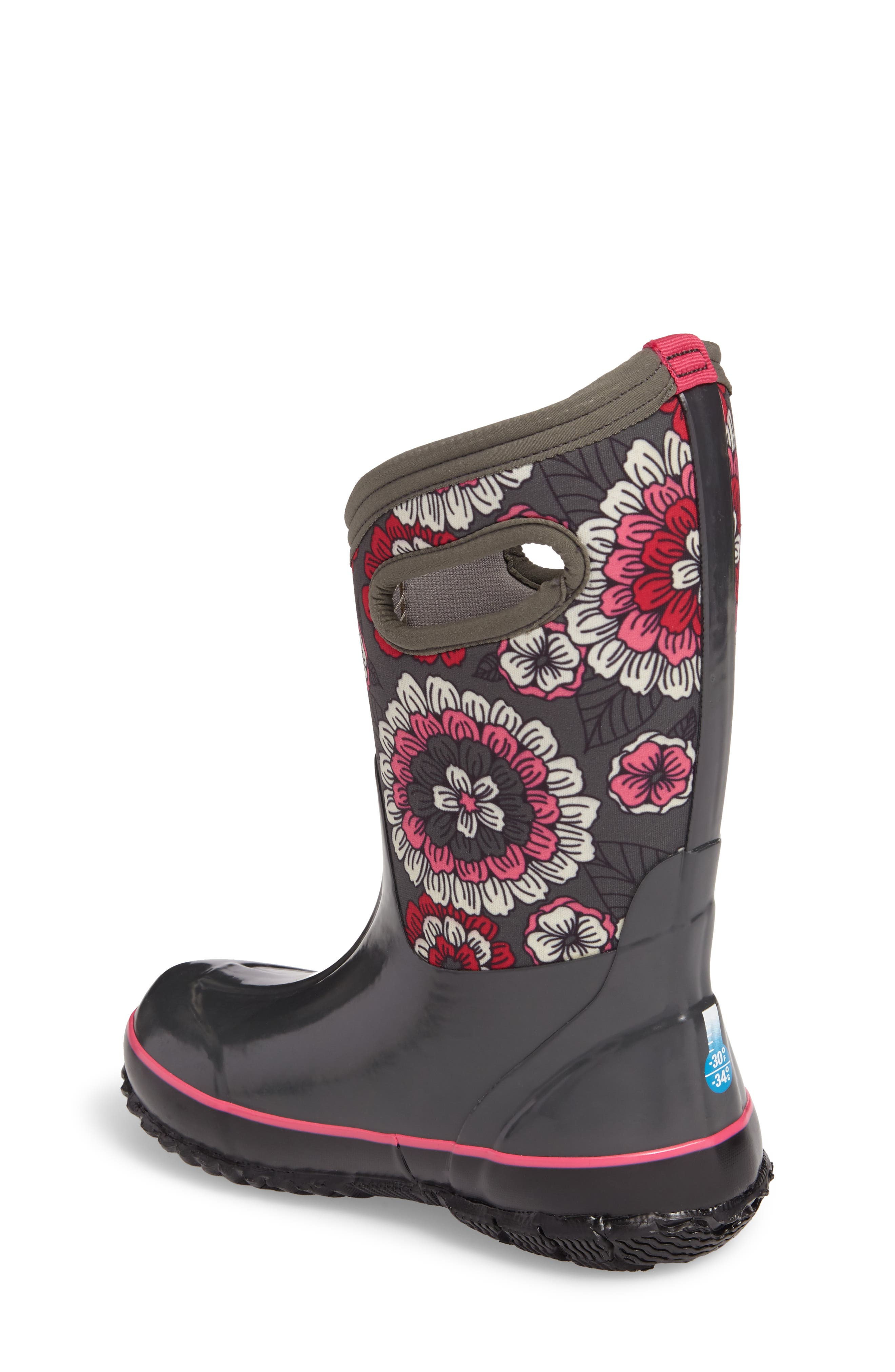 BOGS, Classic Pansies Insulated Waterproof Boot, Alternate thumbnail 2, color, DARK GRAY MULTI