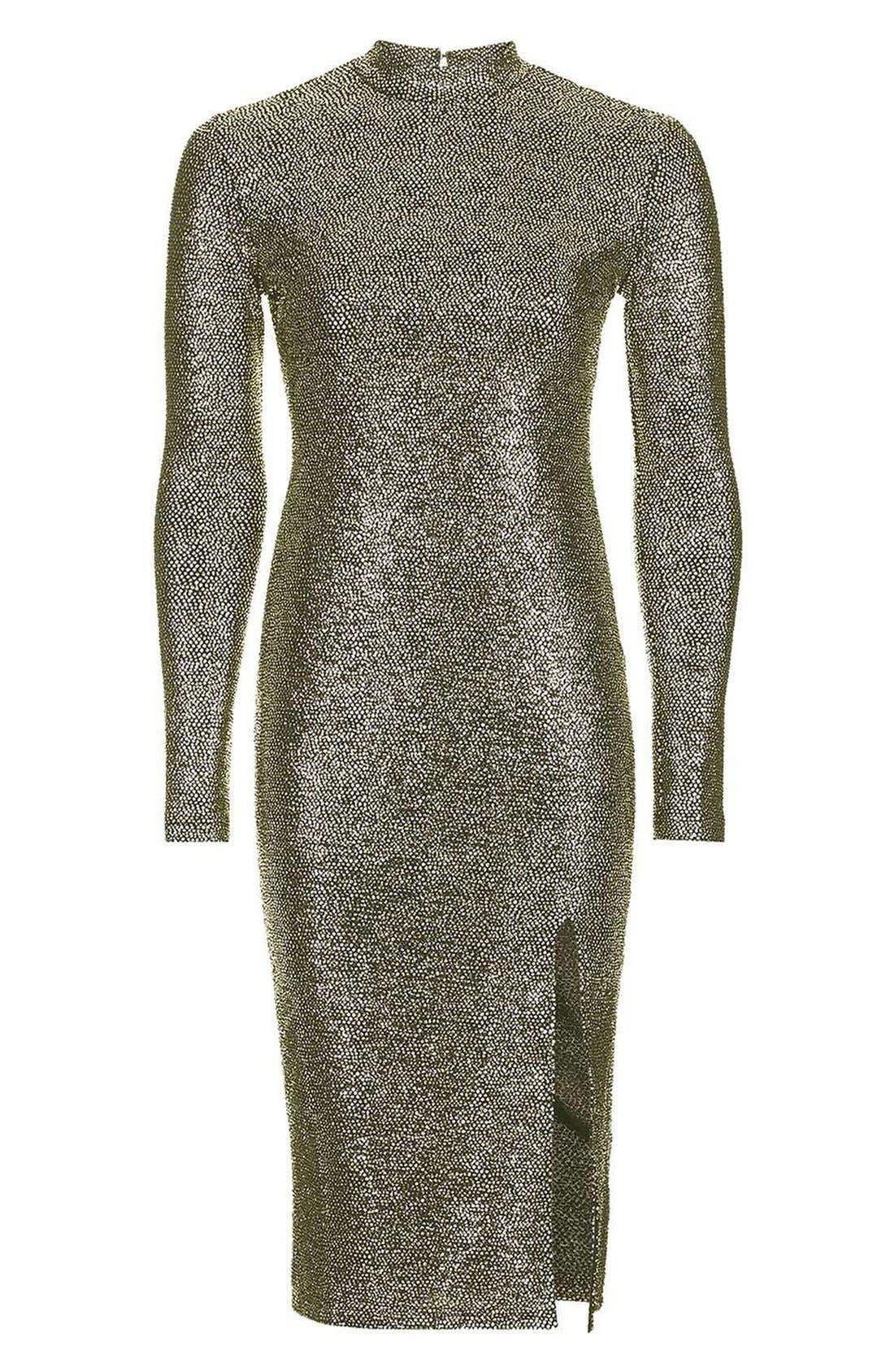 TOPSHOP, Foil Spot Midi Dress, Alternate thumbnail 8, color, 710