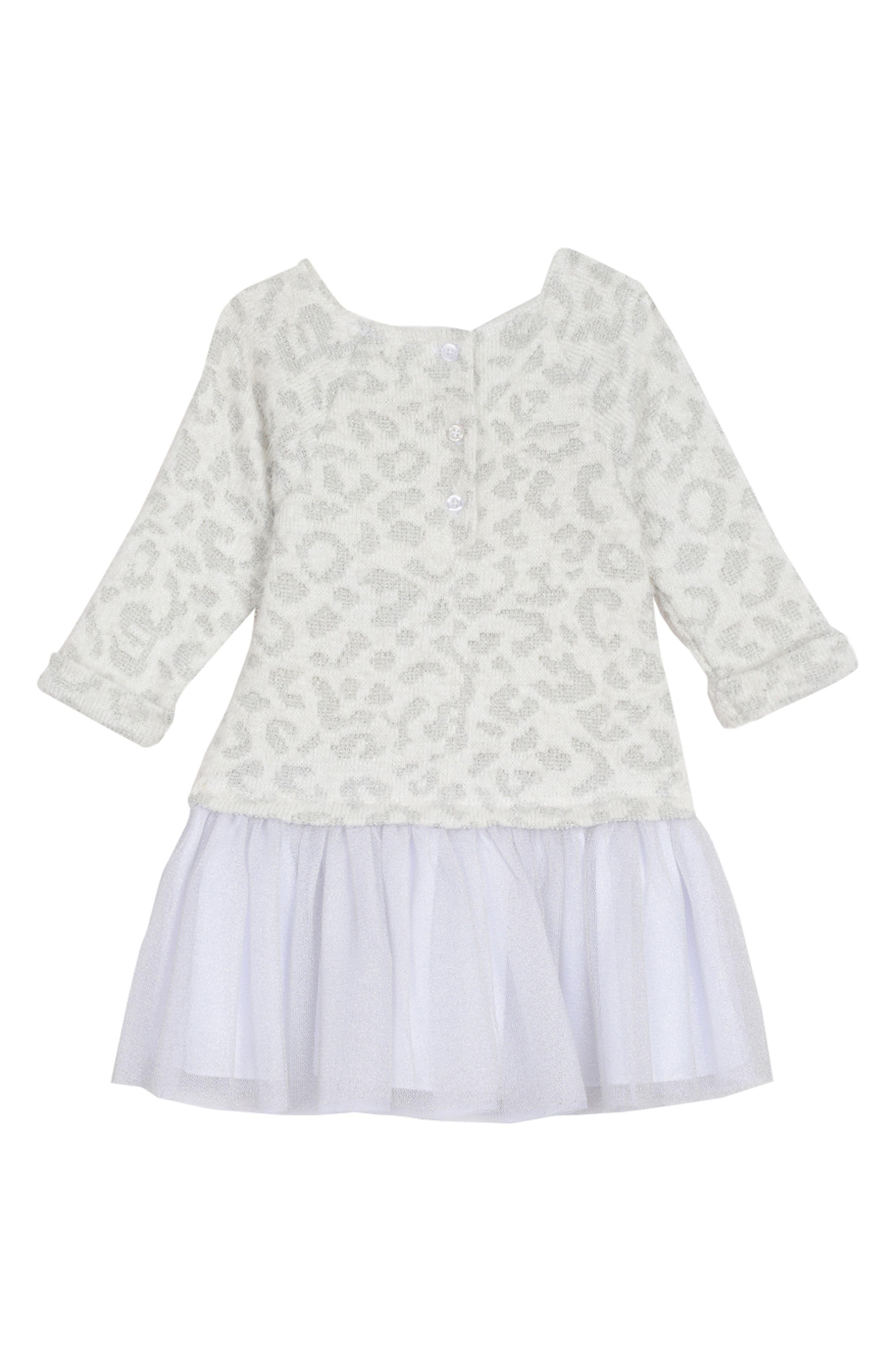 PIPPA & JULIE, Animal Pattern Sweater Dress, Alternate thumbnail 2, color, WHITE/ SILVER