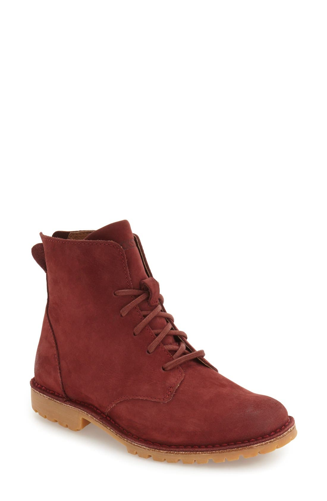 BLACKSTONE 'KL67' Lace-Up Boot, Main, color, CORDOVAN NUBUCK LEATHER