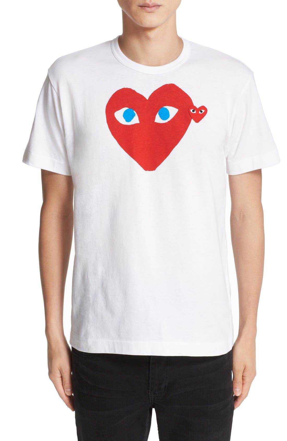 COMME DES GARÇONS PLAY, Heart Face Graphic T-Shirt, Main thumbnail 1, color, WHITE
