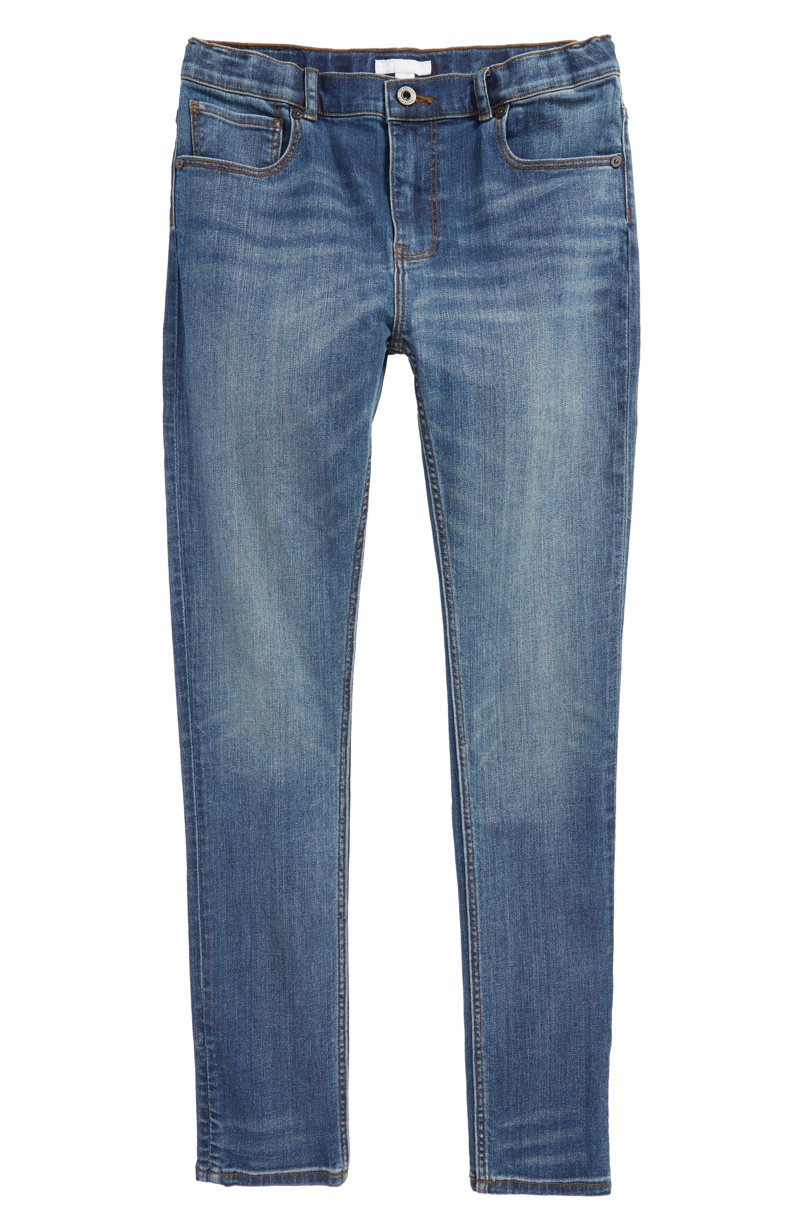 BURBERRY Skinny Jeans, Main, color, MEDIUM INDIGO