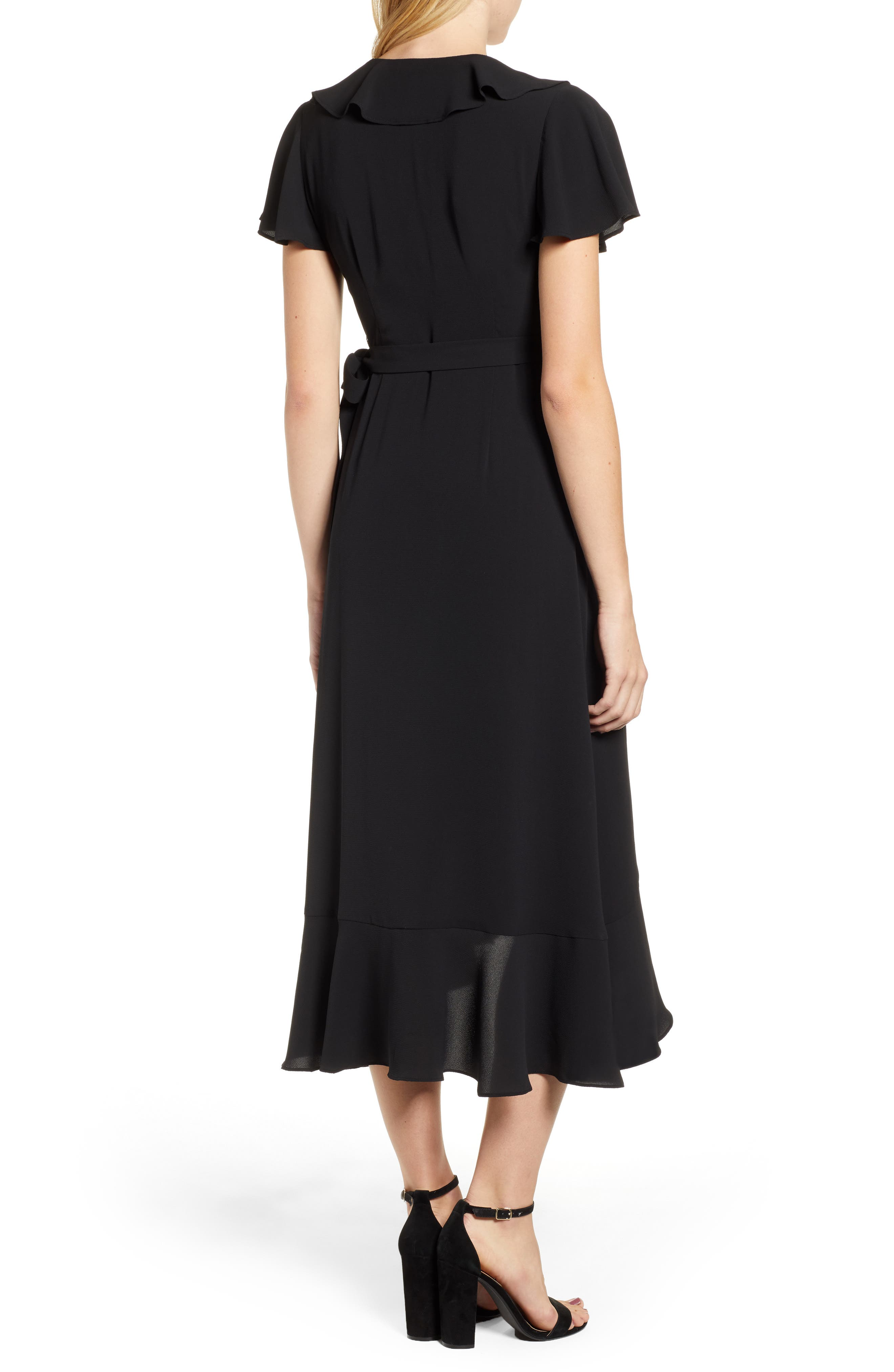 CHELSEA28, Ruffle Wrap Dress, Alternate thumbnail 2, color, BLACK