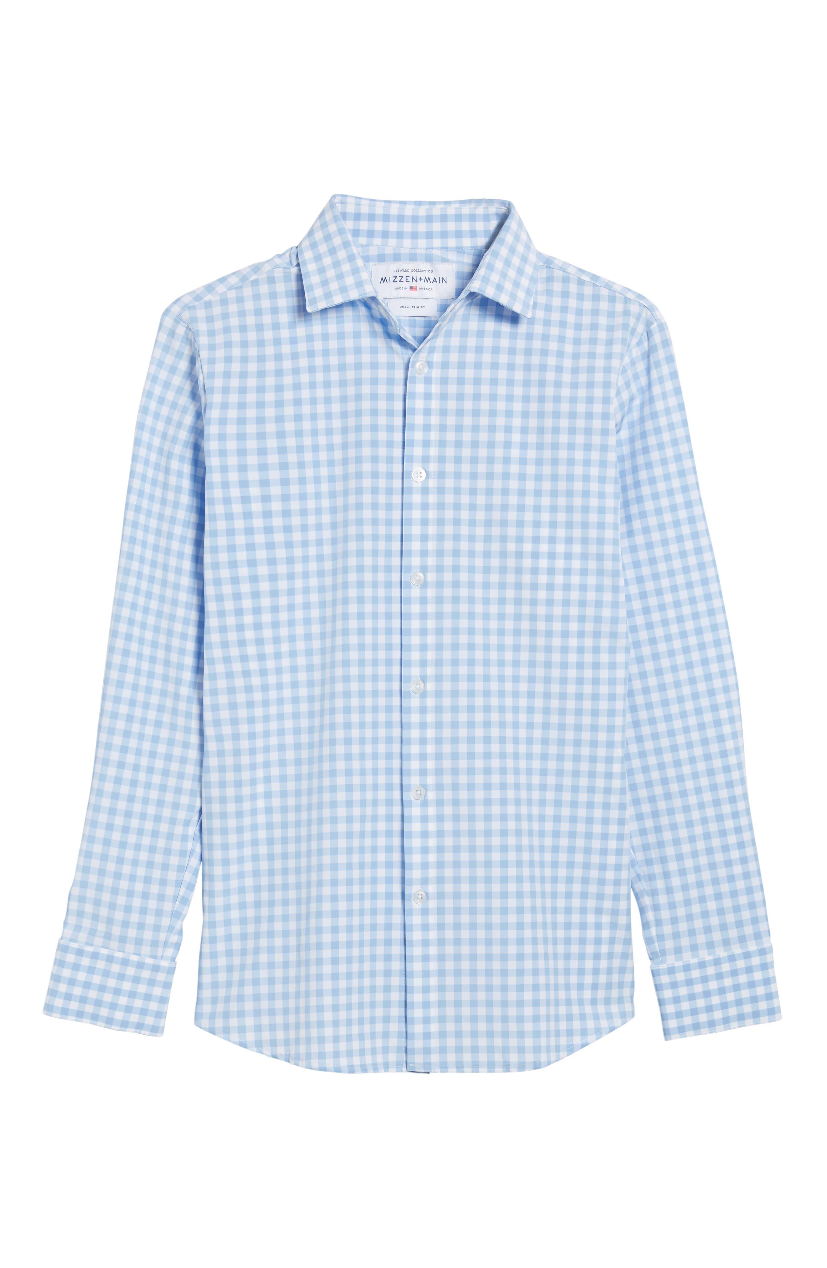 MIZZEN+MAIN, Hampton Trim Fit Gingham Performance Sport Shirt, Alternate thumbnail 6, color, BLUE