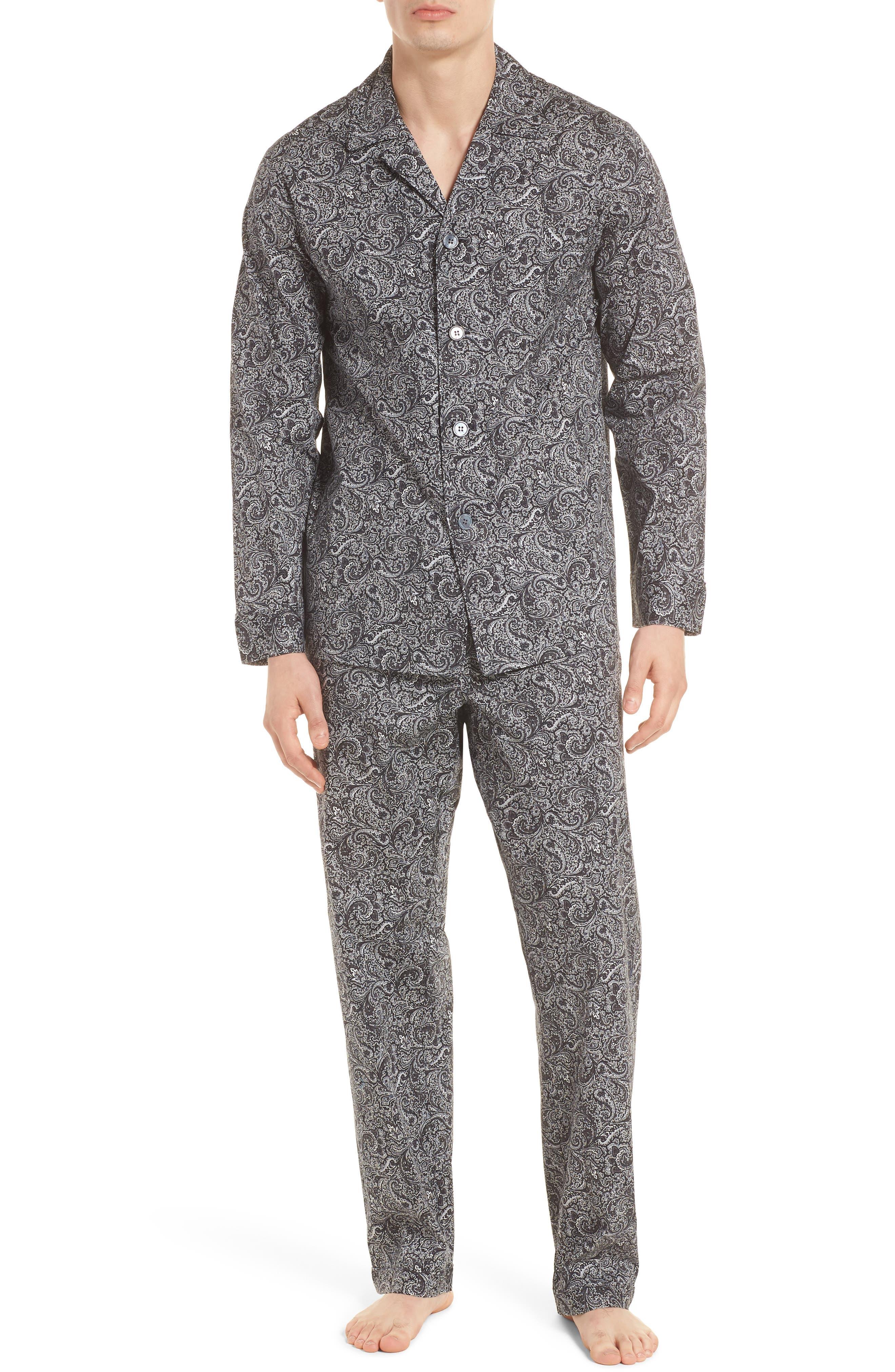 MAJESTIC INTERNATIONAL, Starling Pajama Set, Main thumbnail 1, color, BLACK PAISLEY