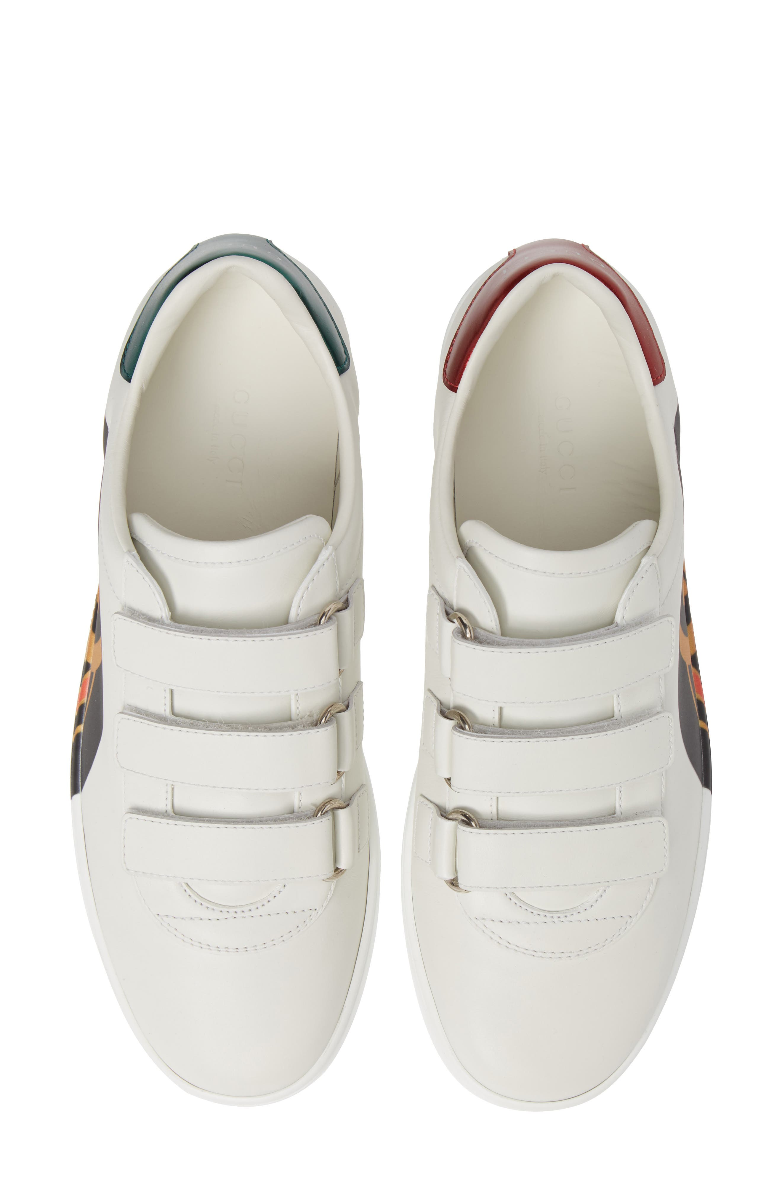 GUCCI, New Ace Sneaker, Alternate thumbnail 5, color, WHITE