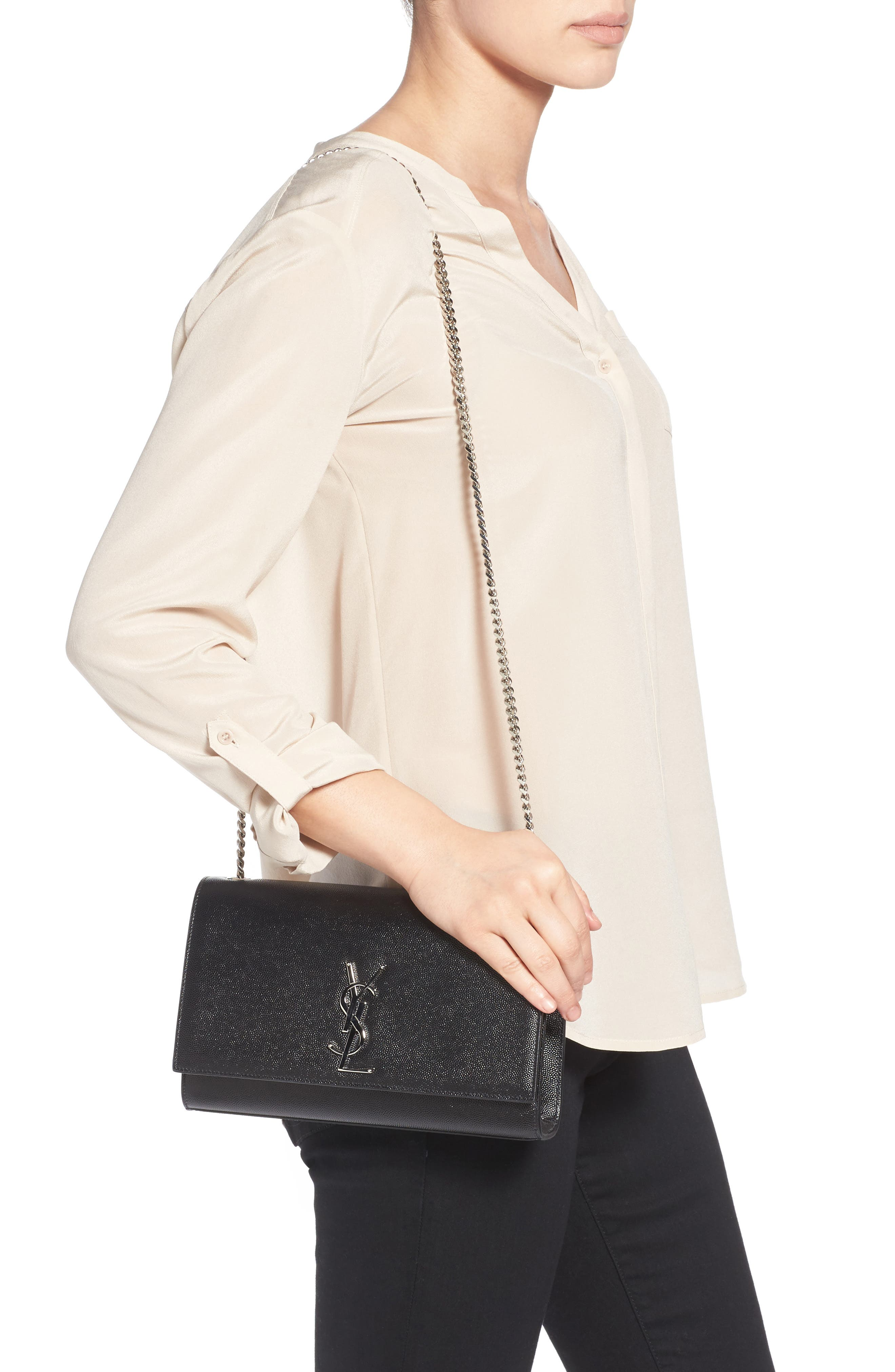 SAINT LAURENT, Medium Kate Calfskin Leather Shoulder Bag, Alternate thumbnail 2, color, NERO