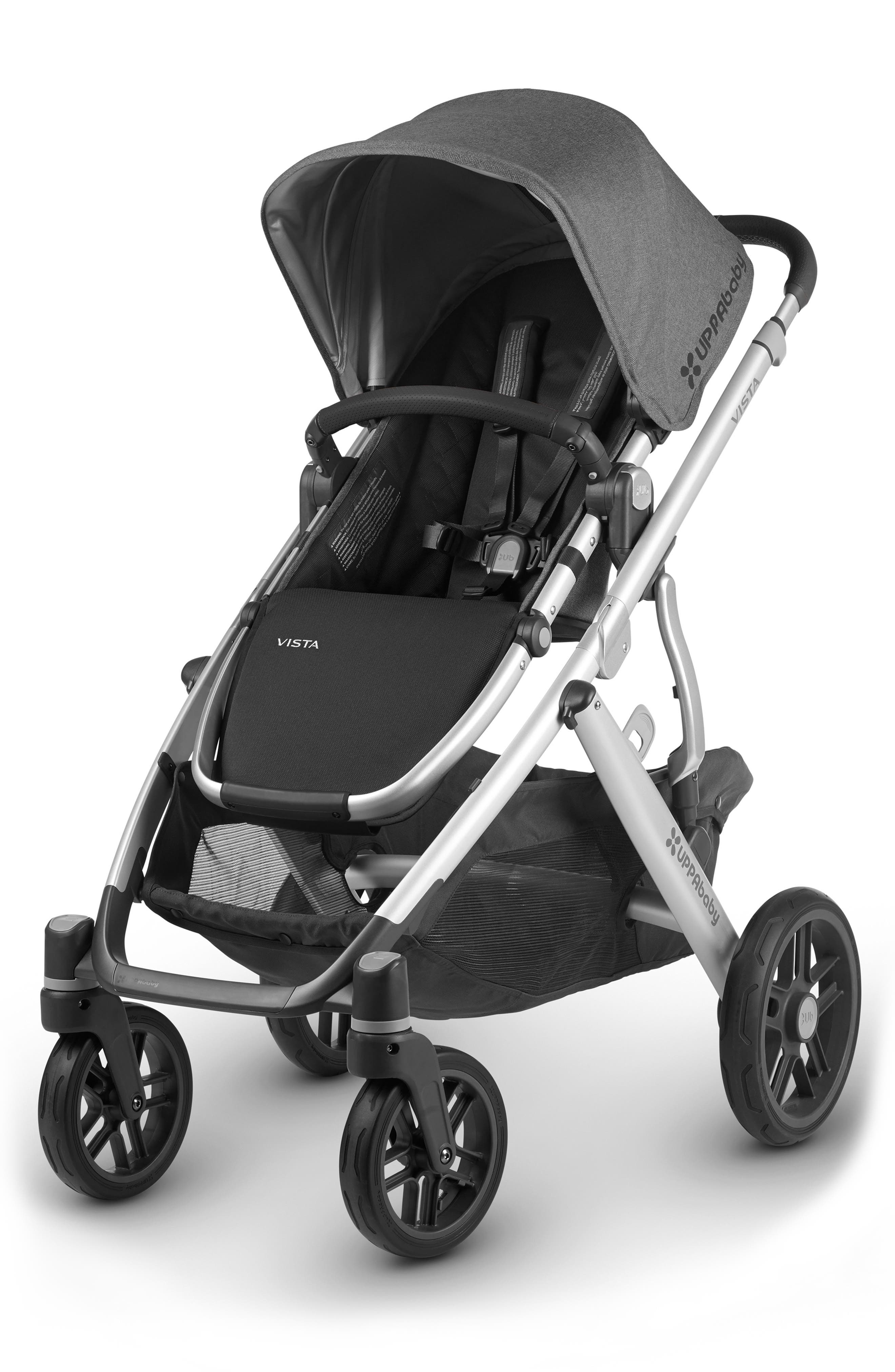 UPPABABY, 2018 VISTA Aluminum Frame Convertible Complete Stroller with Leather Trim, Alternate thumbnail 5, color, JORDAN CHARCOAL/ SILVER