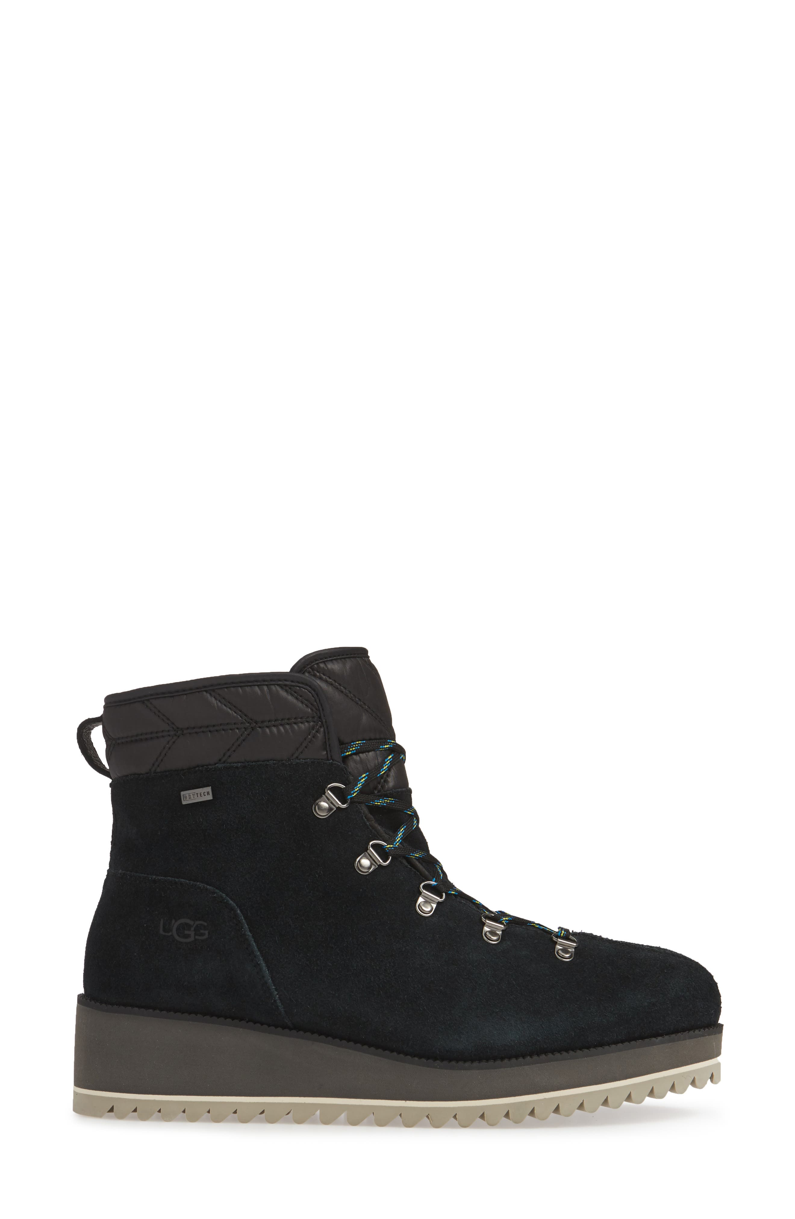 UGG<SUP>®</SUP>, Birch Waterproof Lace-Up Winter Bootie, Alternate thumbnail 3, color, BLACK