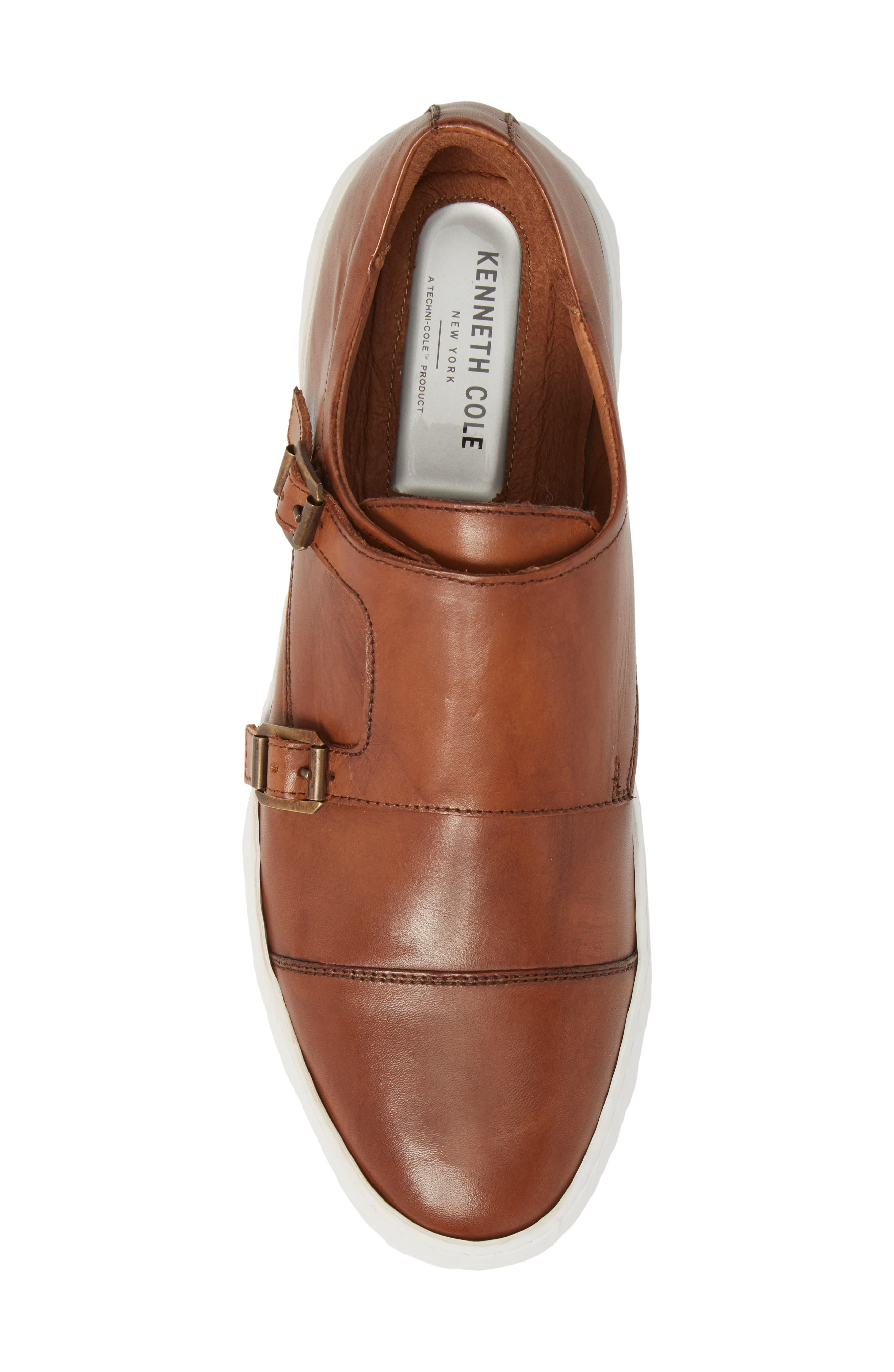 KENNETH COLE NEW YORK, Whyle Double Strap Monk Sneaker, Alternate thumbnail 5, color, COGNAC LEATHER