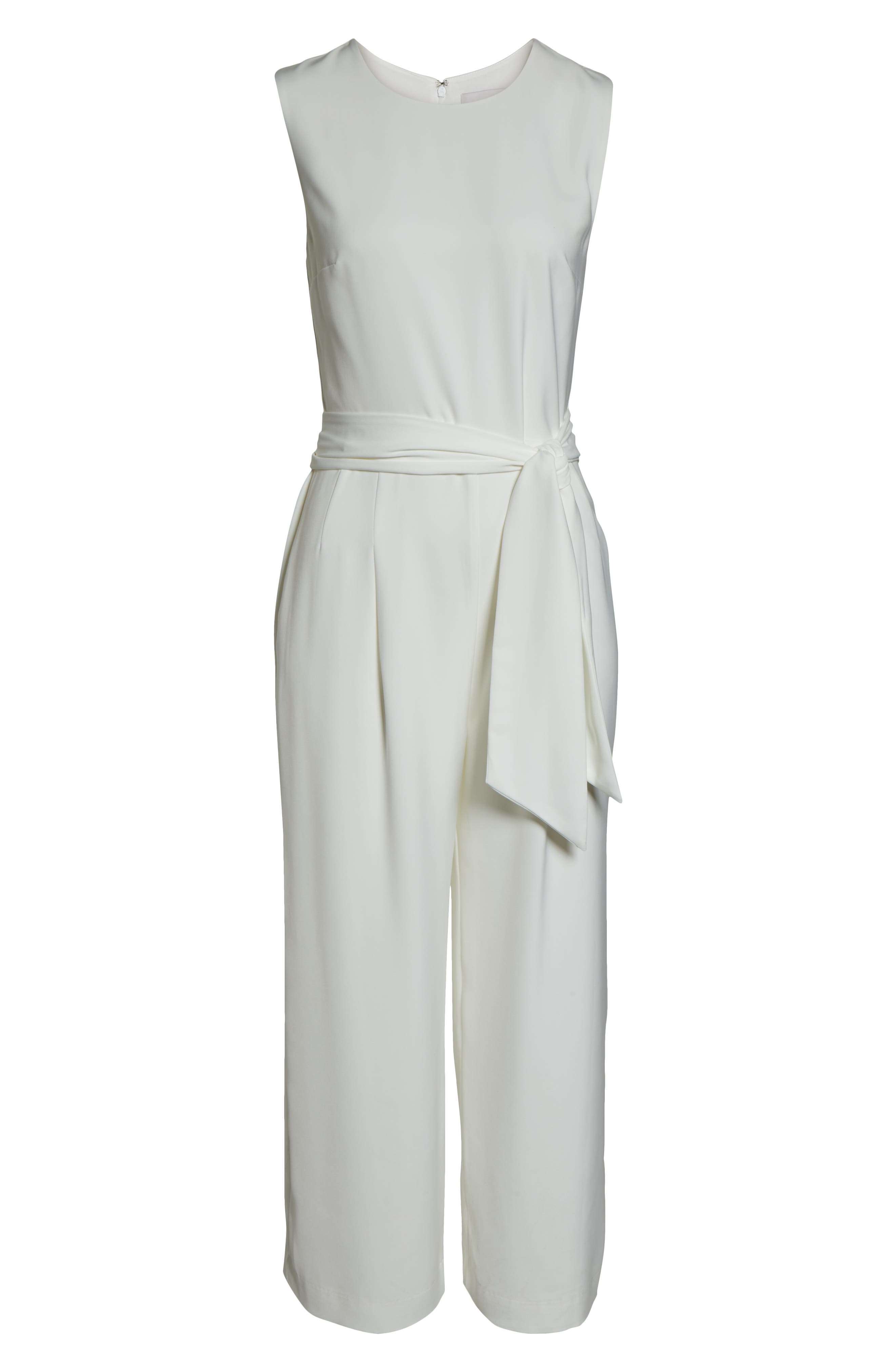 CHARLES HENRY, Sleeveless Culotte Jumpsuit, Alternate thumbnail 7, color, IVORY