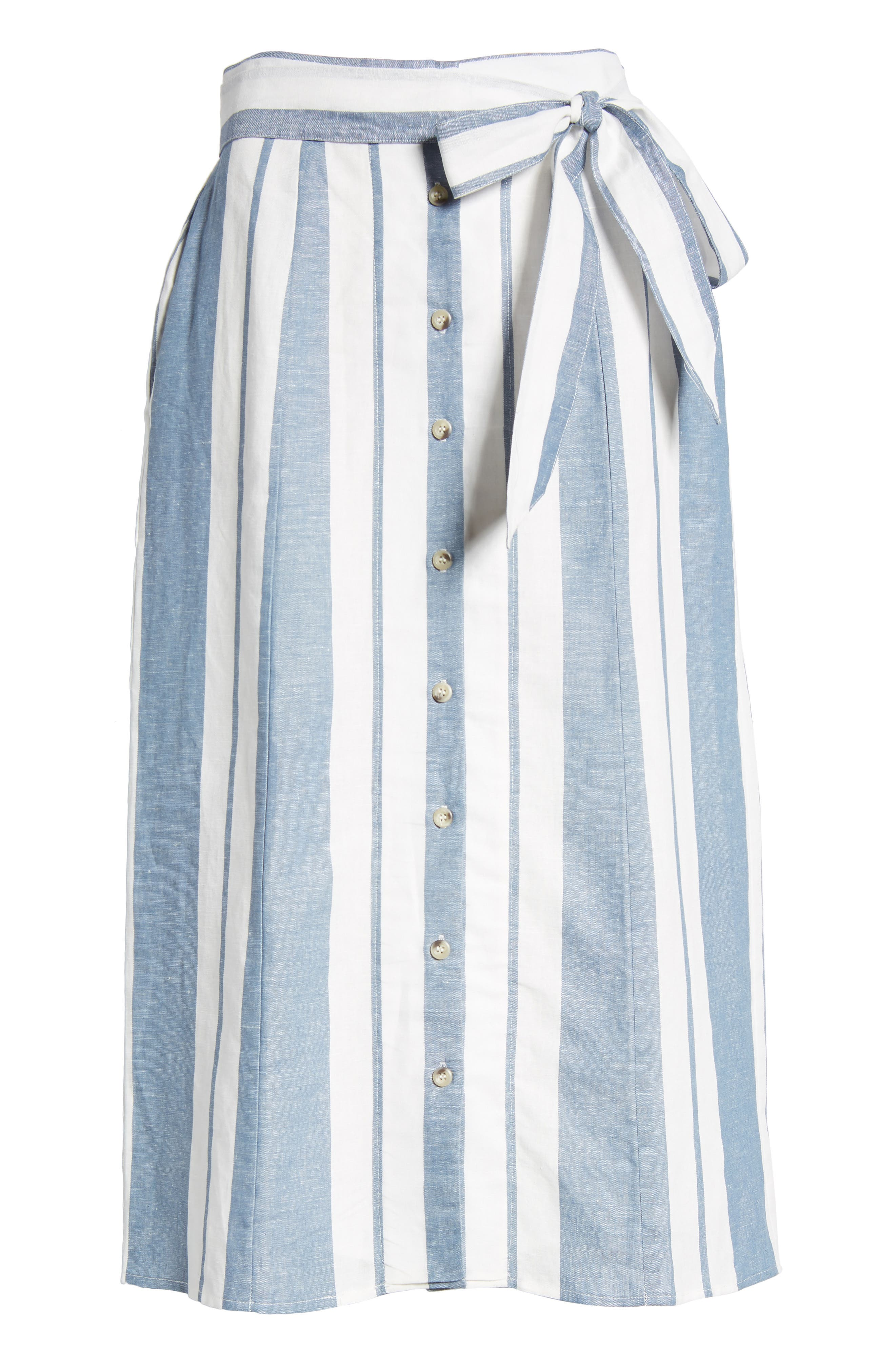 WAYF, Stripe Midi Skirt, Alternate thumbnail 6, color, 400