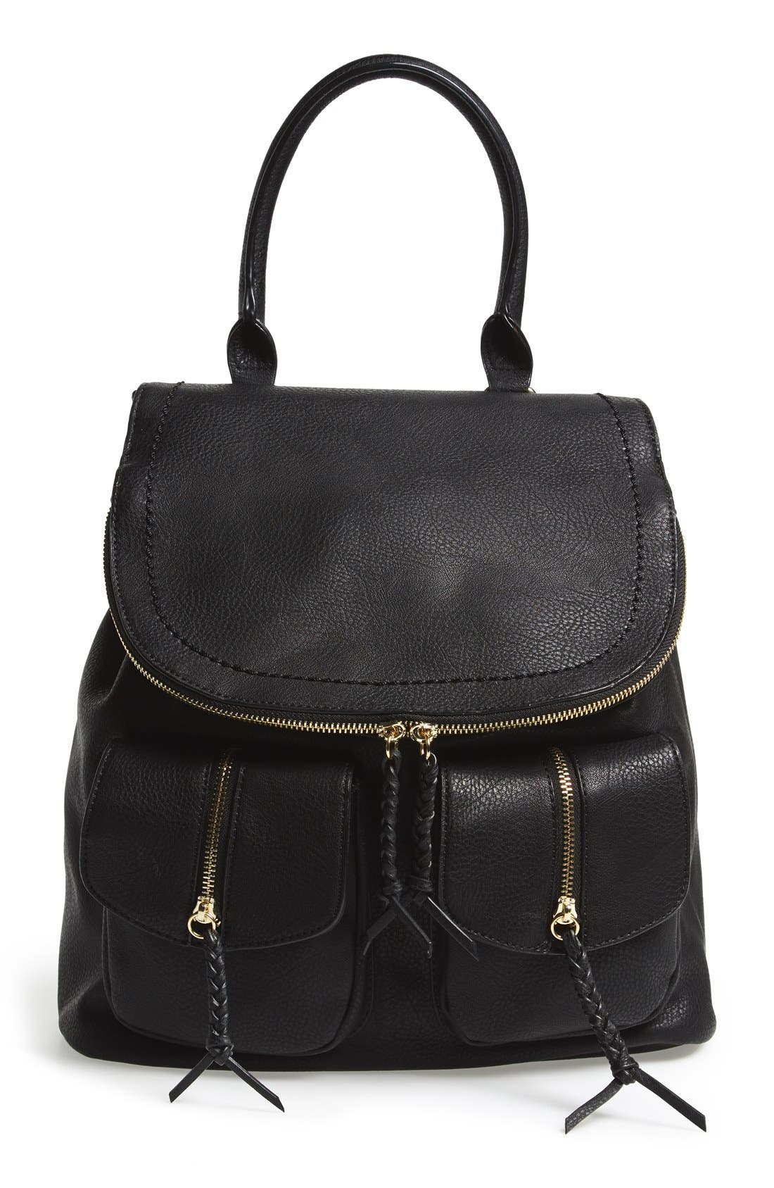 SOLE SOCIETY Emery Faux Leather Backpack, Main, color, BLACK