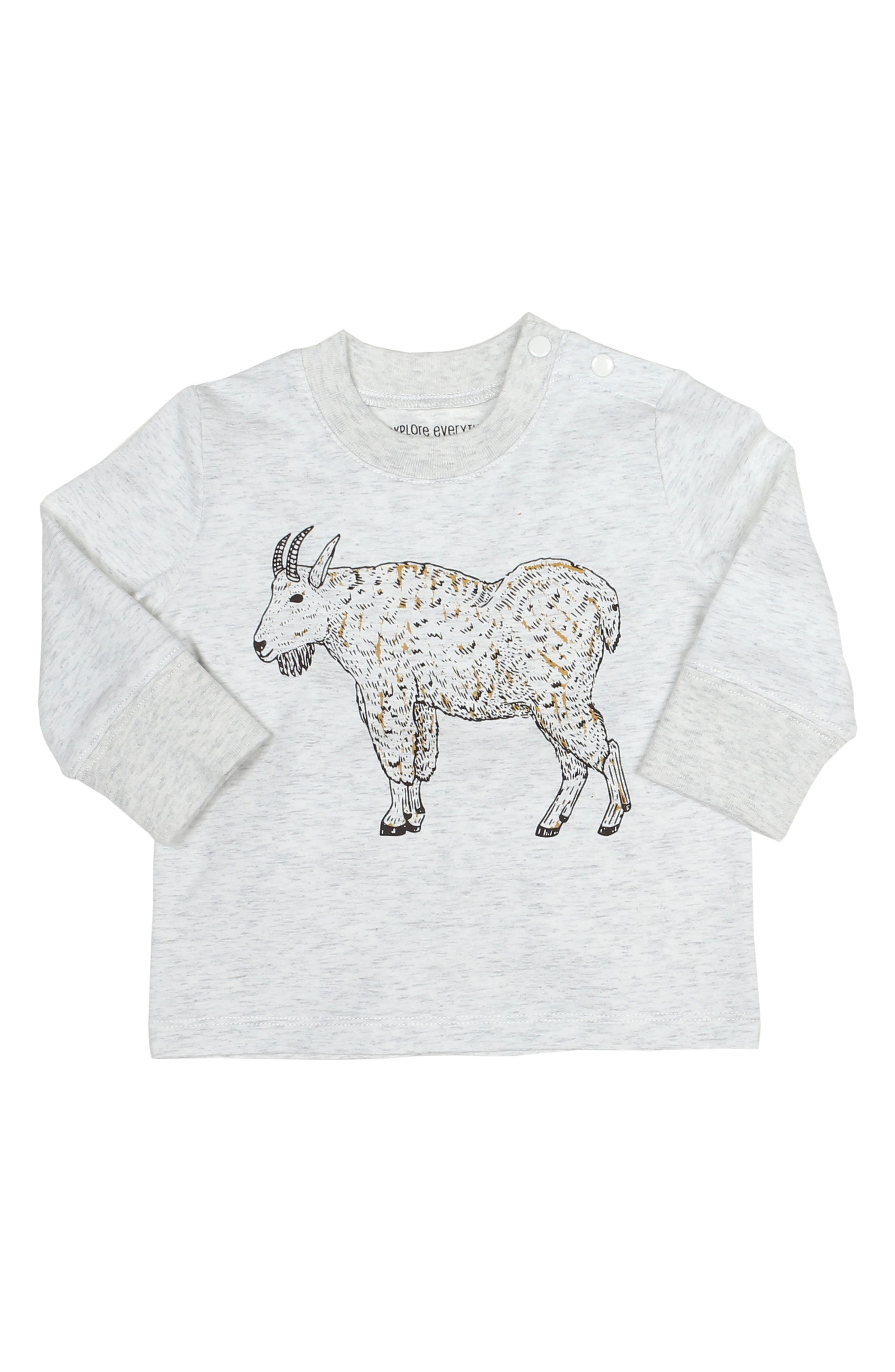 ROBEEZ<SUP>®</SUP>, Billy Goat Graphic T-Shirt, Main thumbnail 1, color, HEATHER GREY