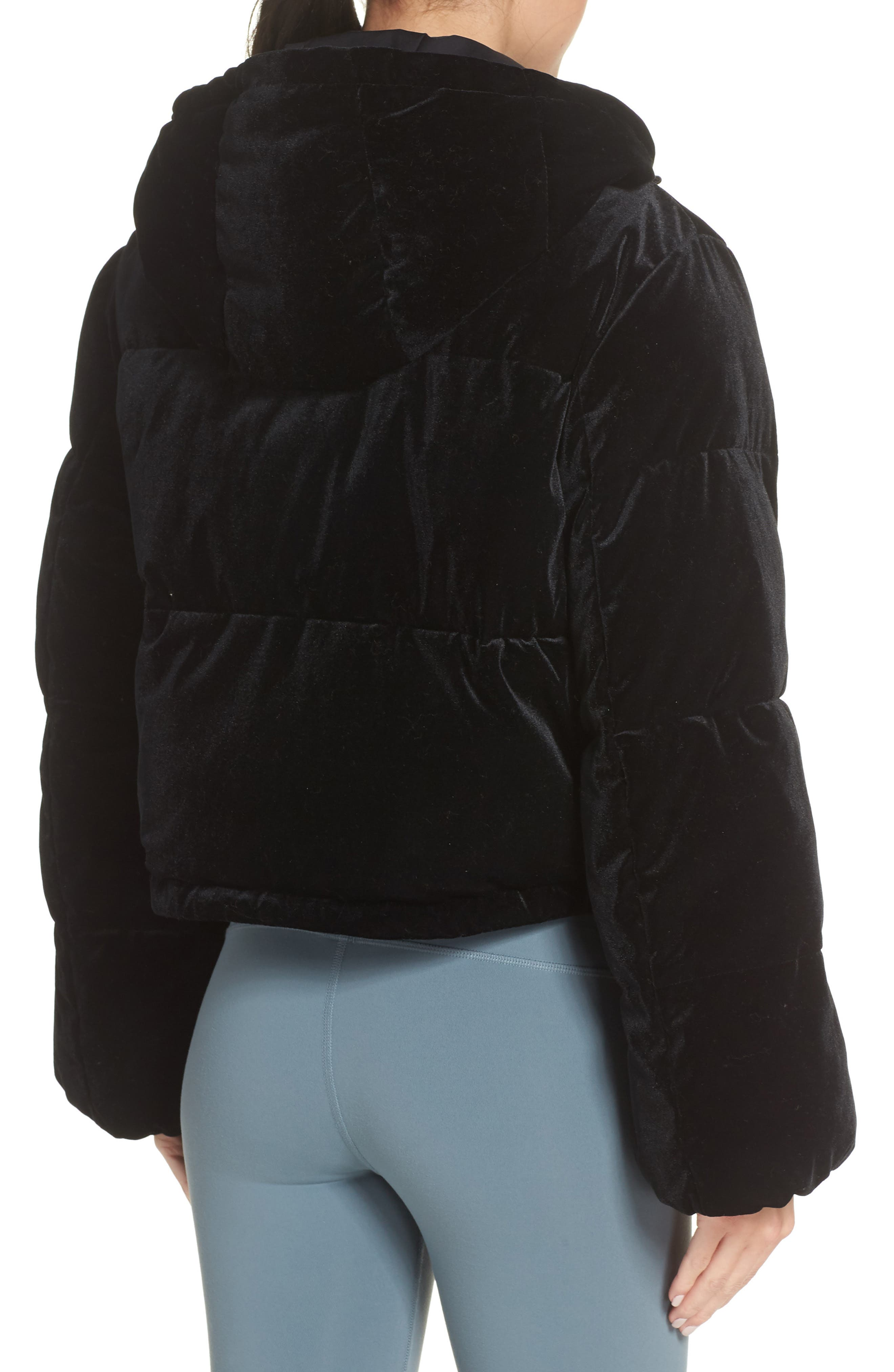 ALO, Velvet Puffer Jacket, Alternate thumbnail 2, color, 001