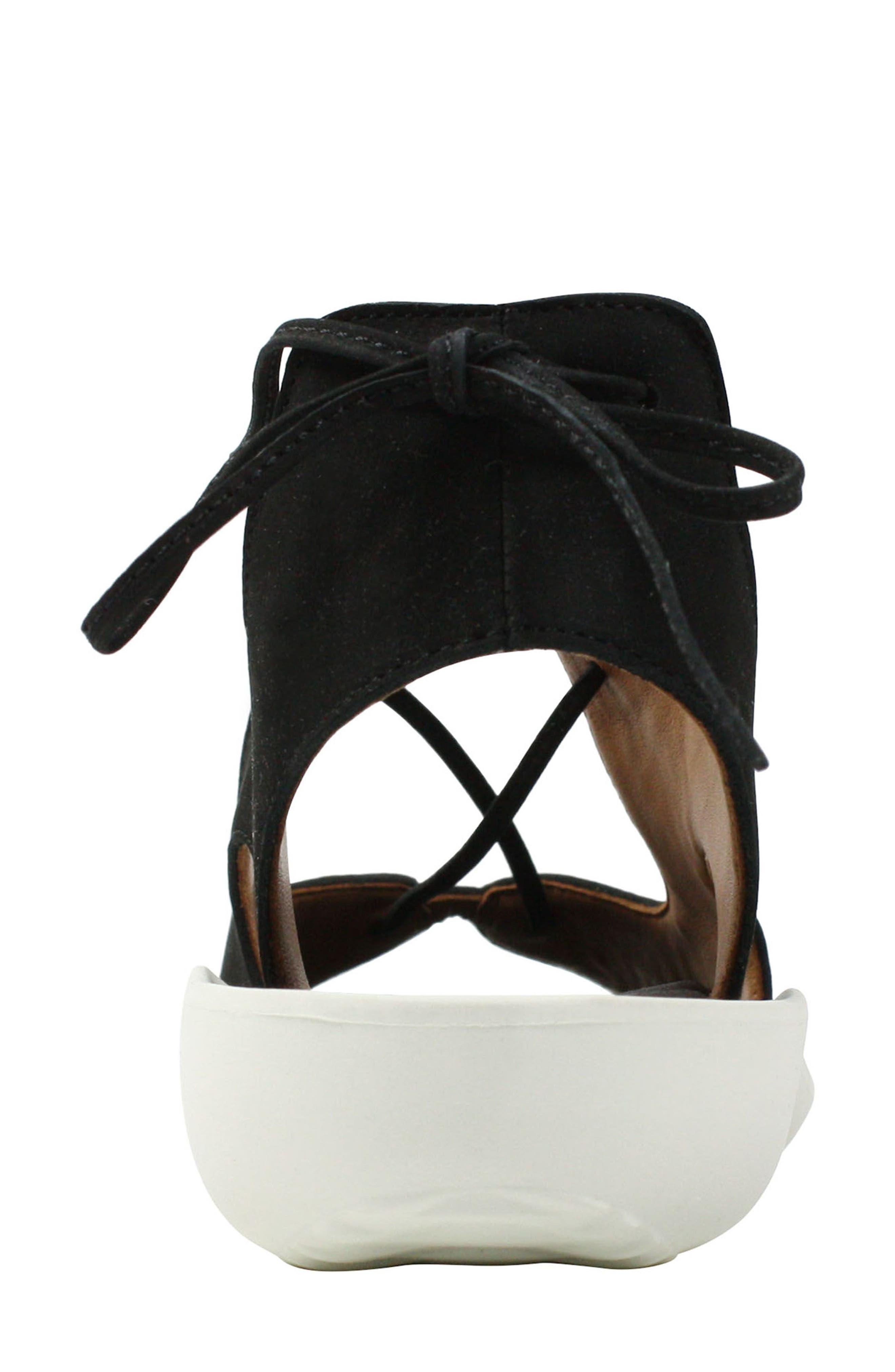 L'AMOUR DES PIEDS, Nesimah Lace-Up Sandal, Alternate thumbnail 5, color, BLACK NUBUCK LEATHER
