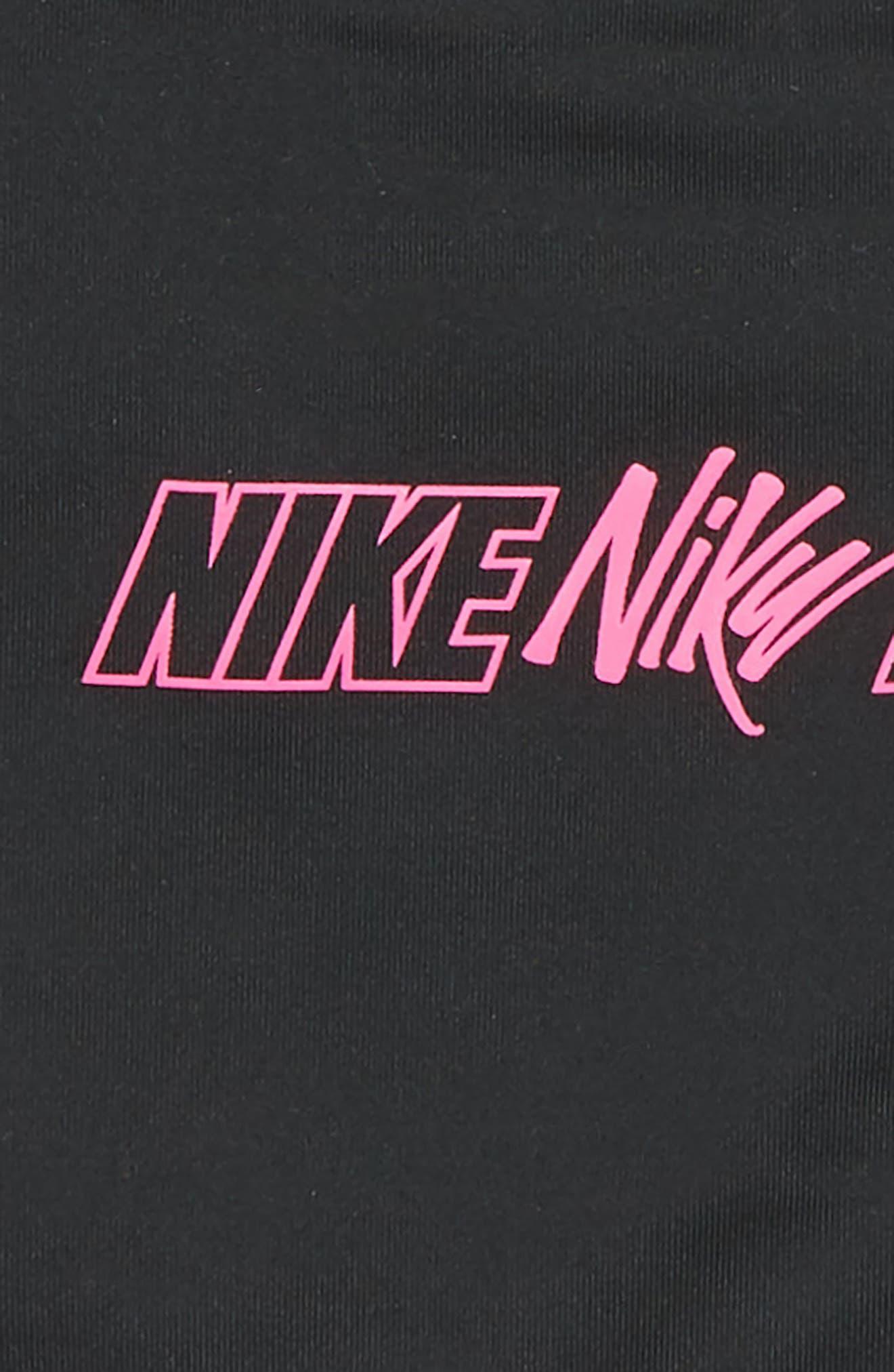 NIKE, Pro Classic Logo Sports Bra, Alternate thumbnail 2, color, BLACK/ LASER FUCHSIA/ WHITE