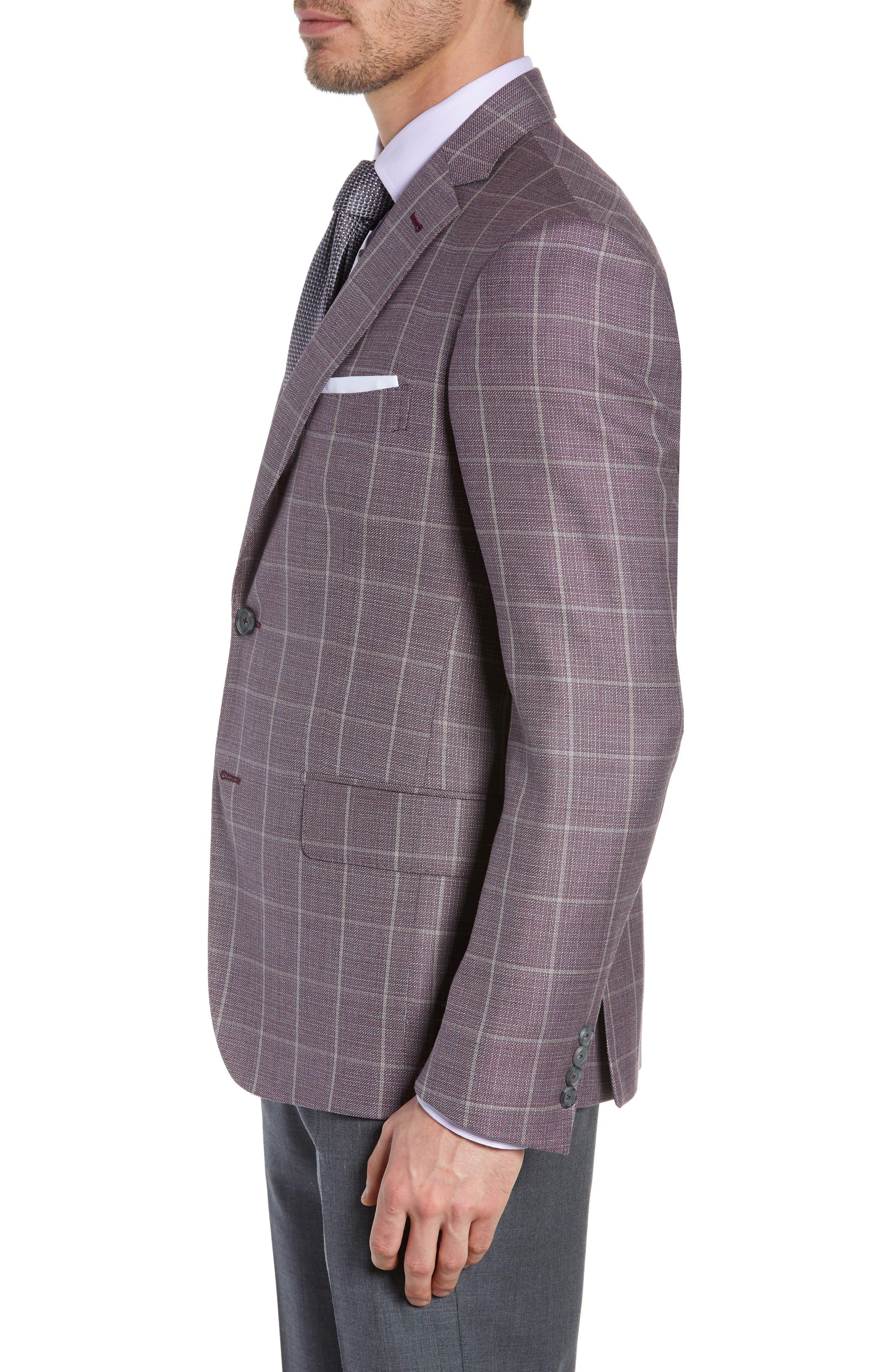 JOHN W. NORDSTROM<SUP>®</SUP>, Traditional Fit Windowpane Wool Sport Coat, Alternate thumbnail 3, color, BURGUNDY SASS WINDOWPANE
