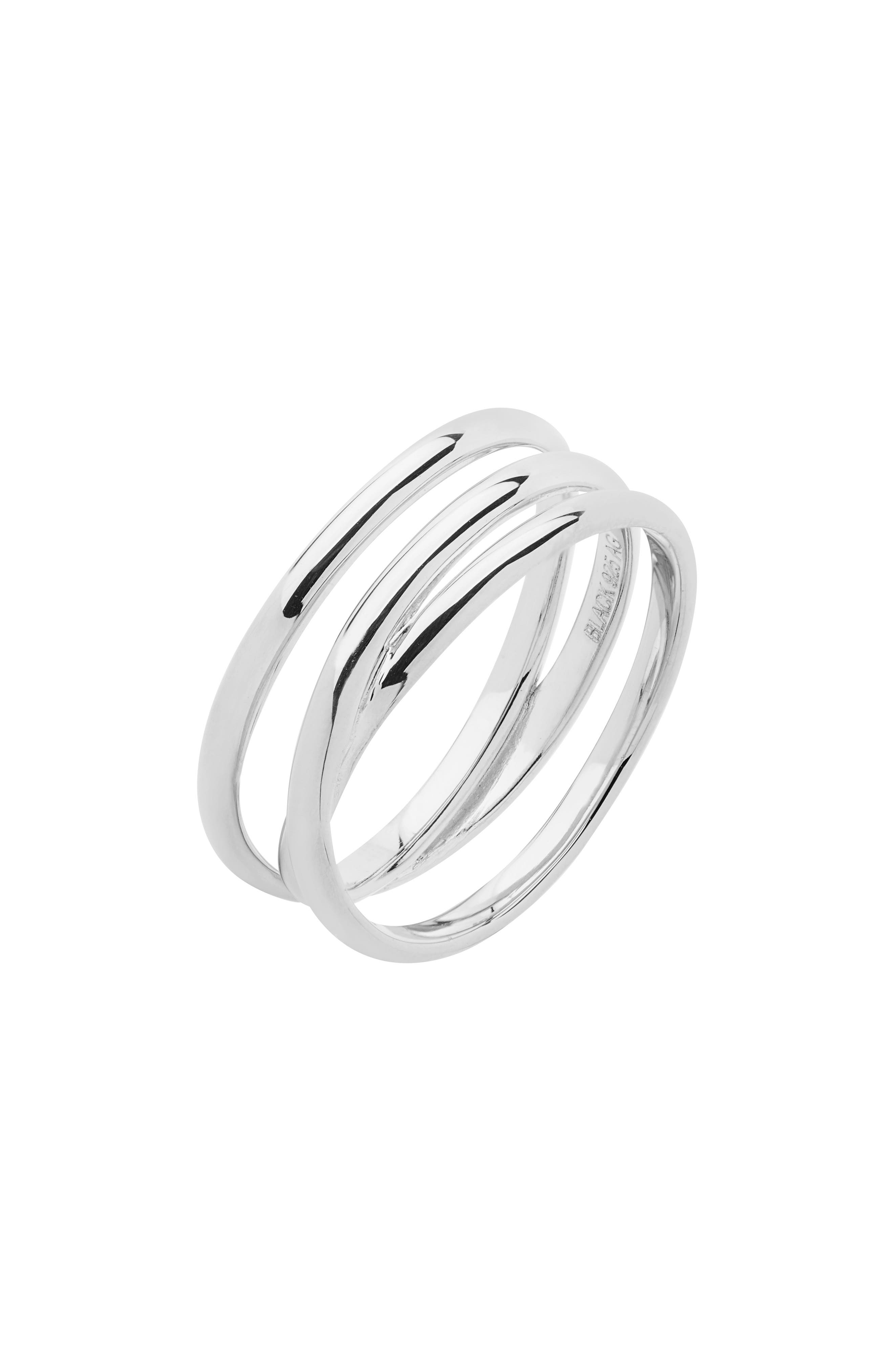 MARIA BLACK, Heroes Emily Wrap Ring, Main thumbnail 1, color, HIGH POLISHED SILVER