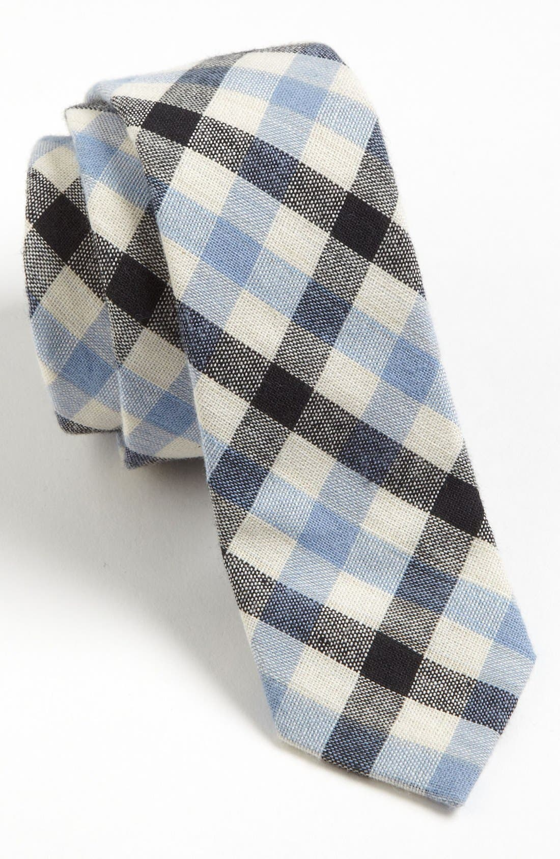 TOPMAN, Heritage Check Woven Tie, Main thumbnail 1, color, 400